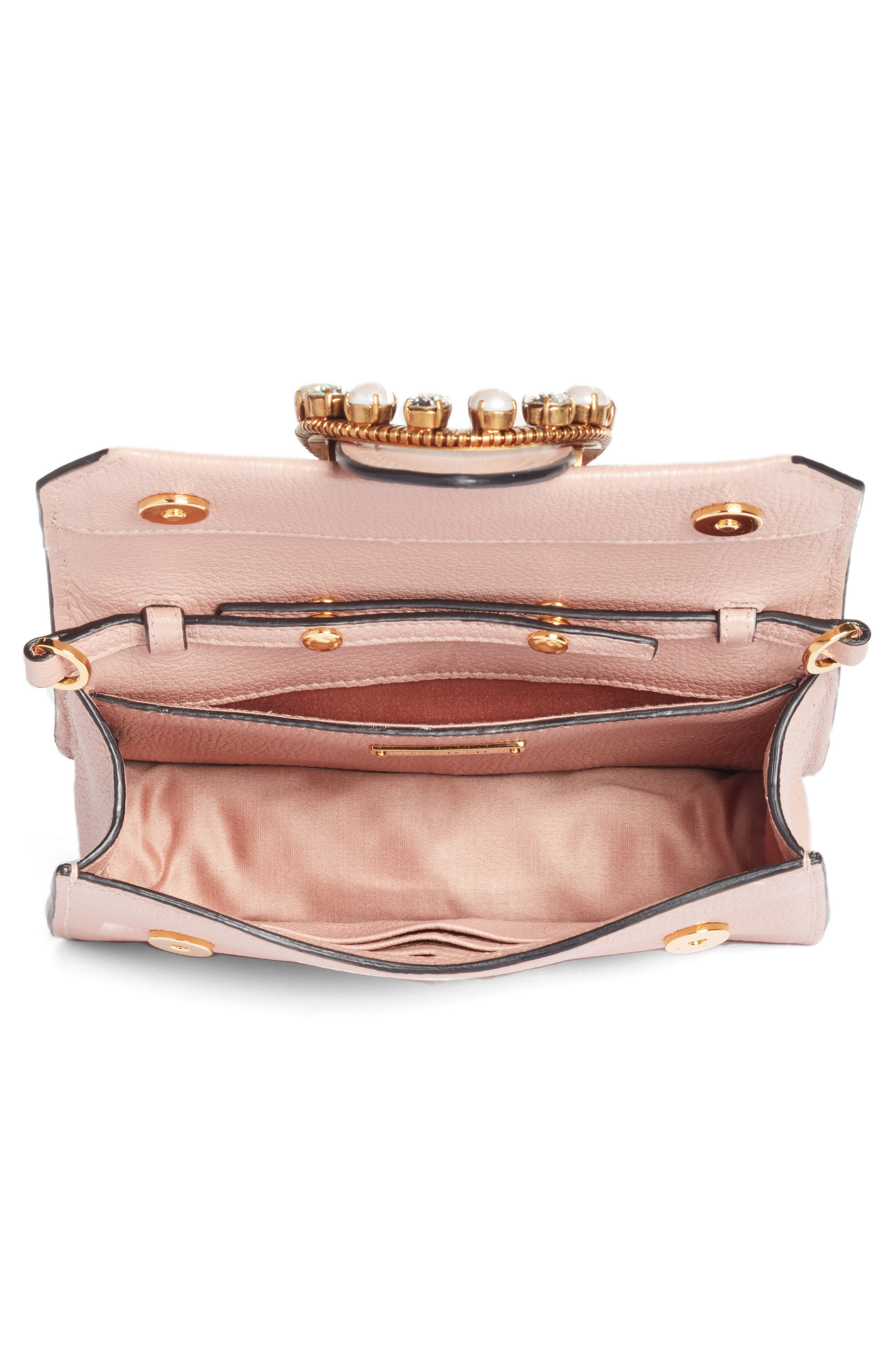 Lady Madras Crystal Embellished Leather Crossbody Bag,                             Alternate thumbnail 4, color,                             Orchidea