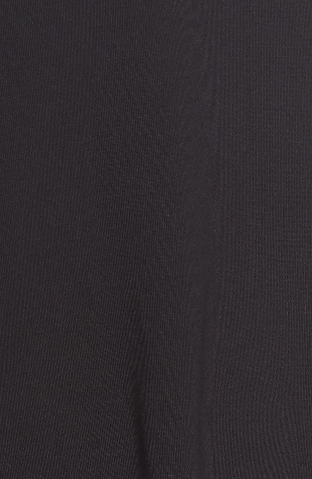 Stretch Organic Cotton Jersey Shift Dress,                             Alternate thumbnail 5, color,                             Black