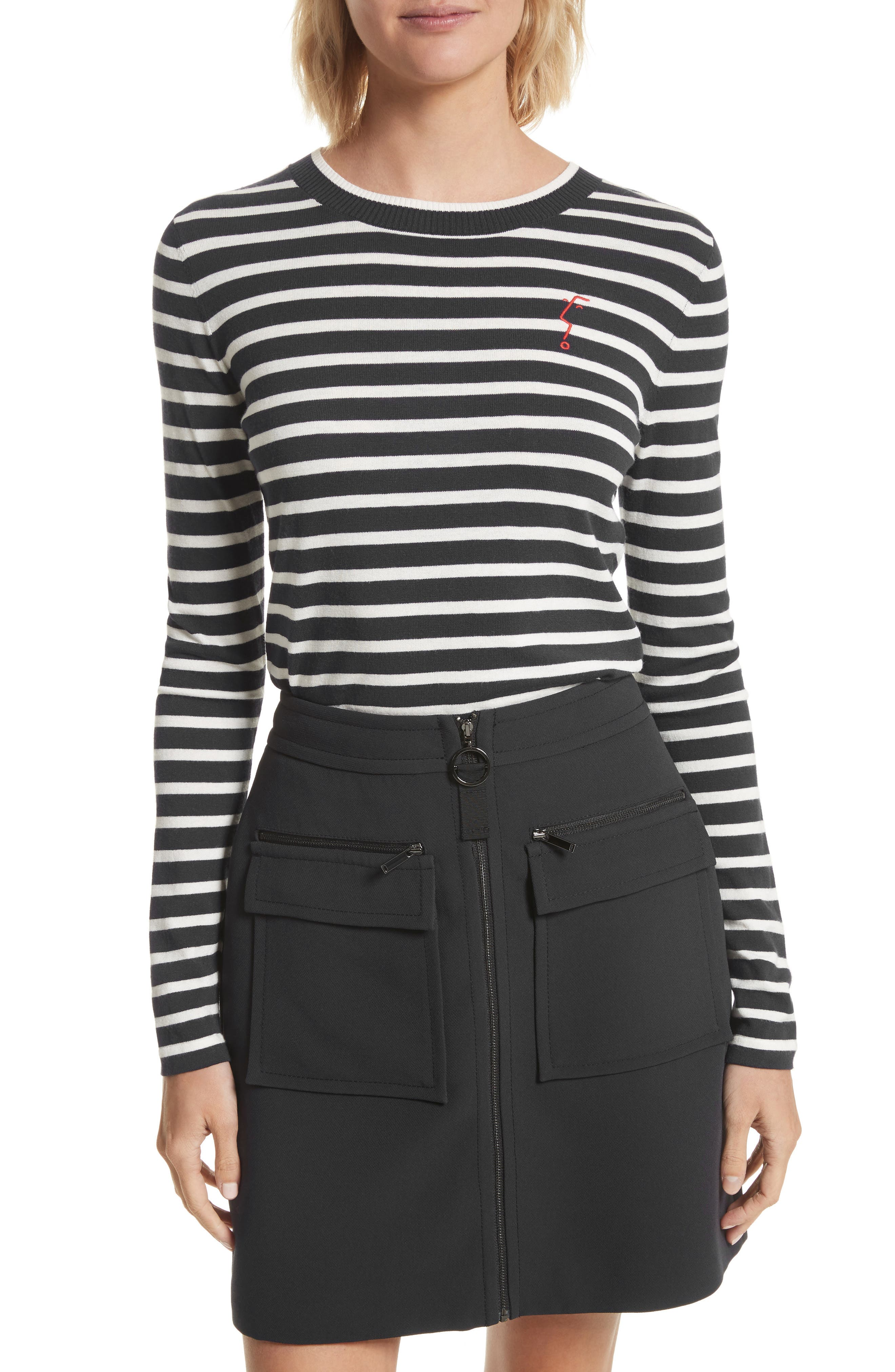 GREY Jason Wu Face Embroidered Stripe Knit Top