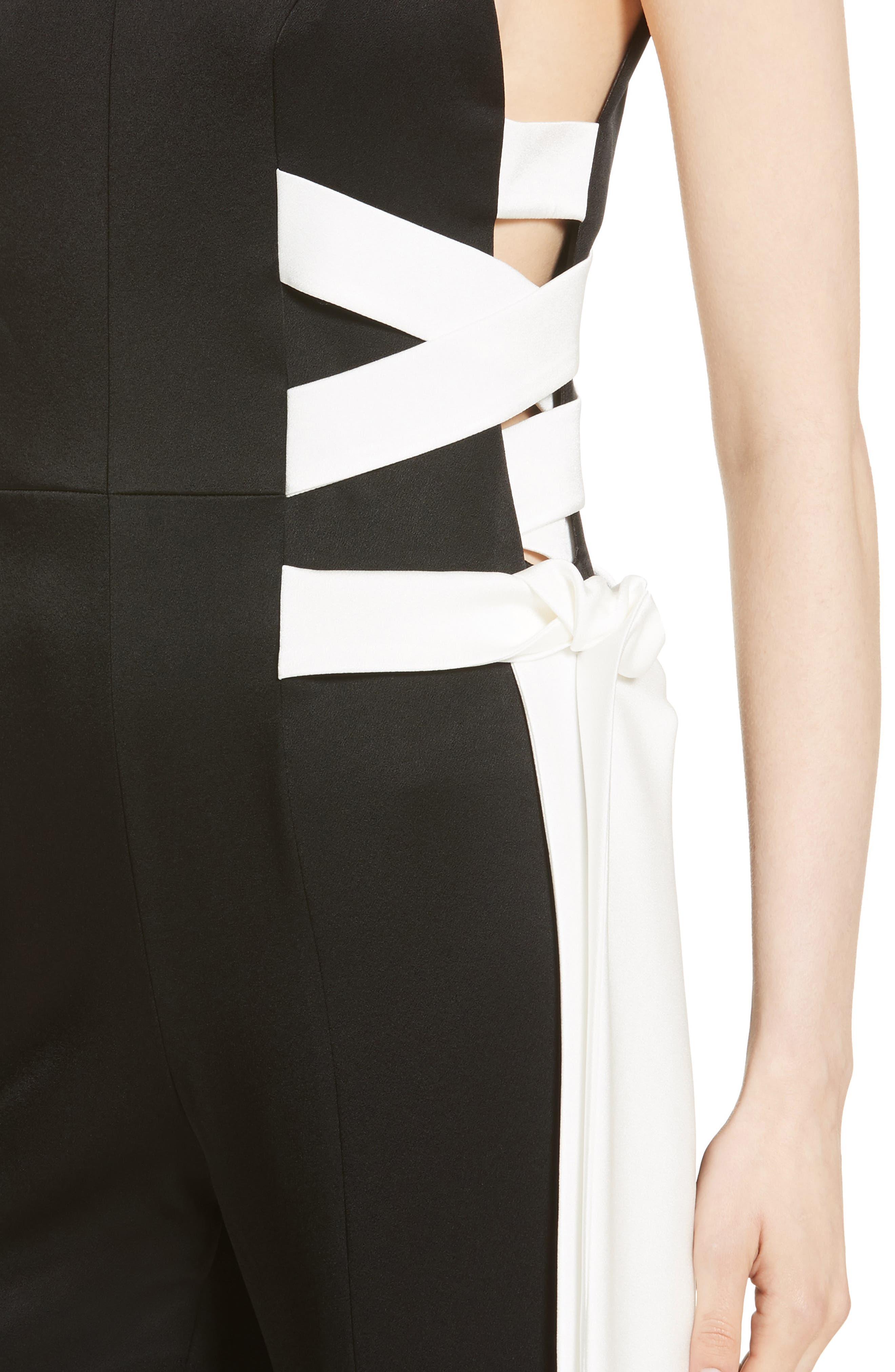 Lace Up Satin Crepe Jumpsuit,                             Alternate thumbnail 6, color,                             Black W/ White Lacings
