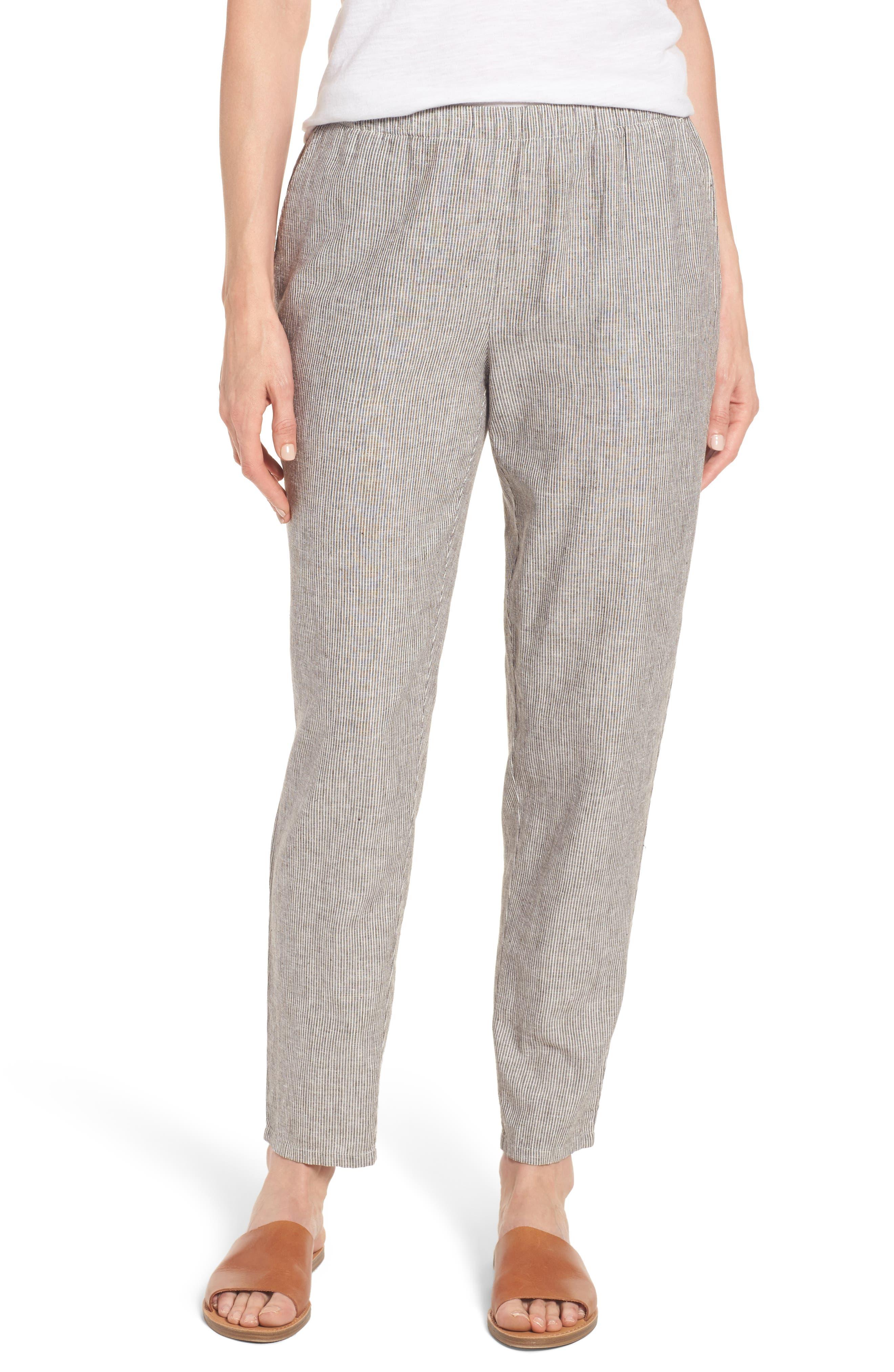 EILEEN FISHER Stripe Hemp & Organic Cotton Ankle Pants