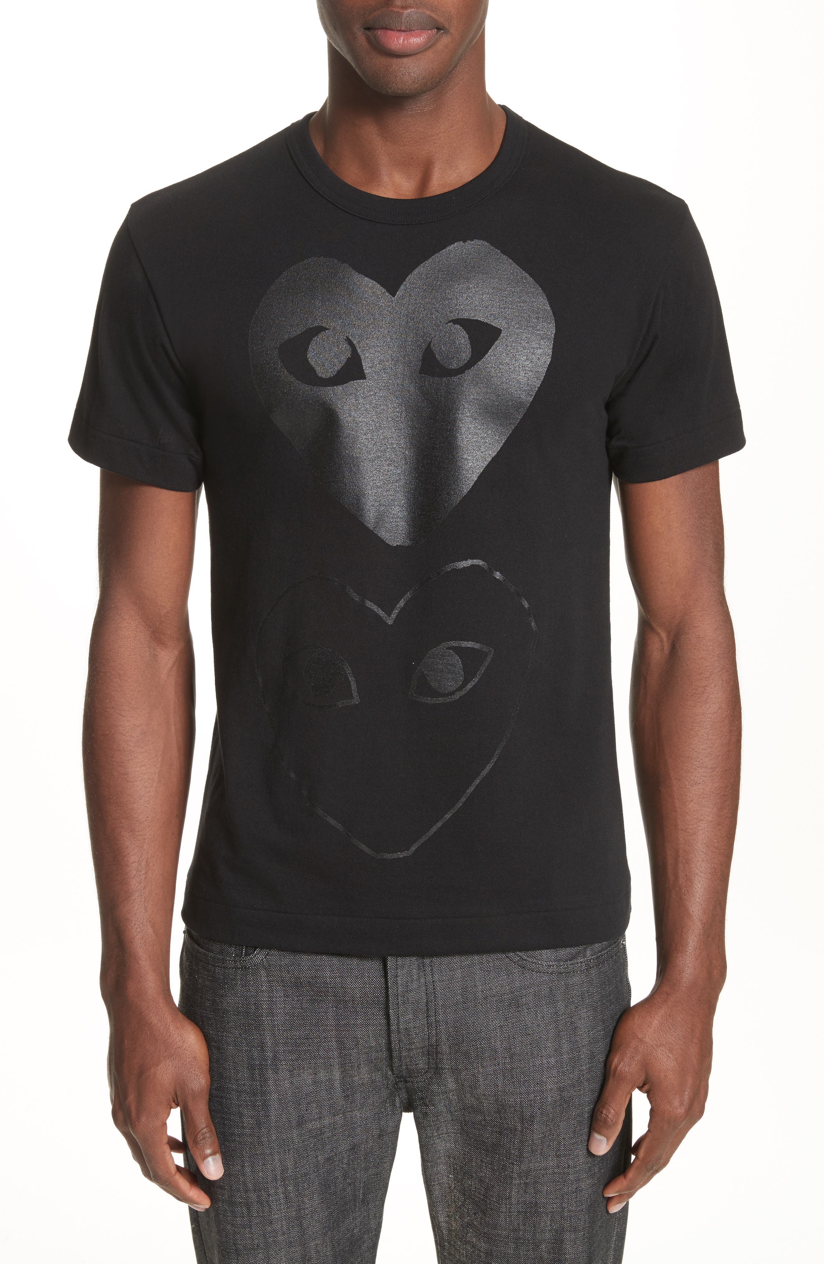 Comme des Garçons PLAY Graphic T-Shirt,                             Main thumbnail 1, color,                             Black