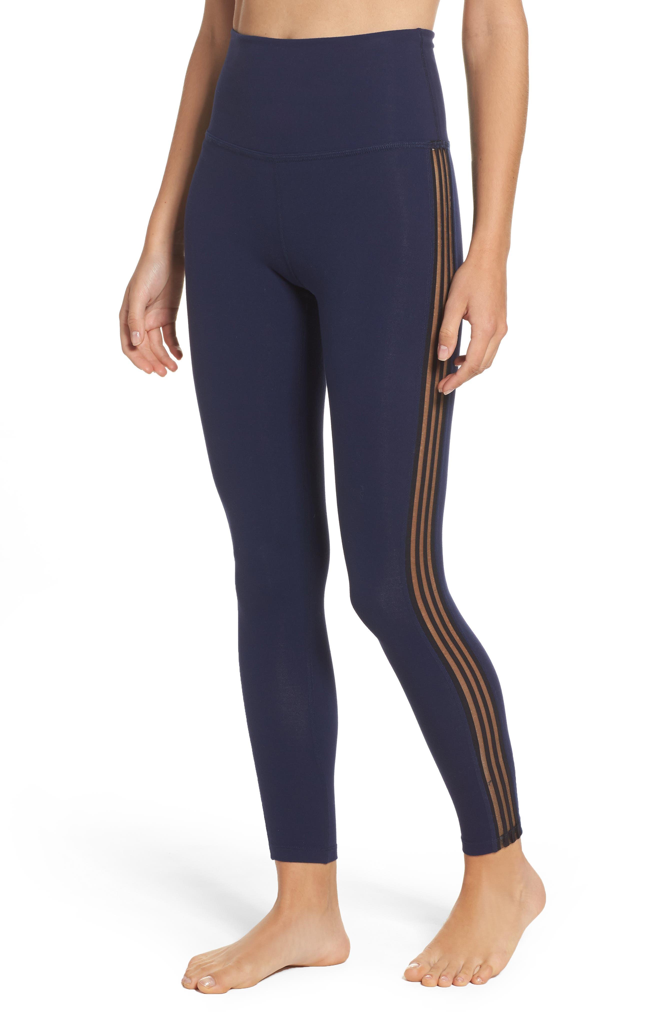 Sheer Illusion High Waist Leggings,                         Main,                         color, Valor Navy