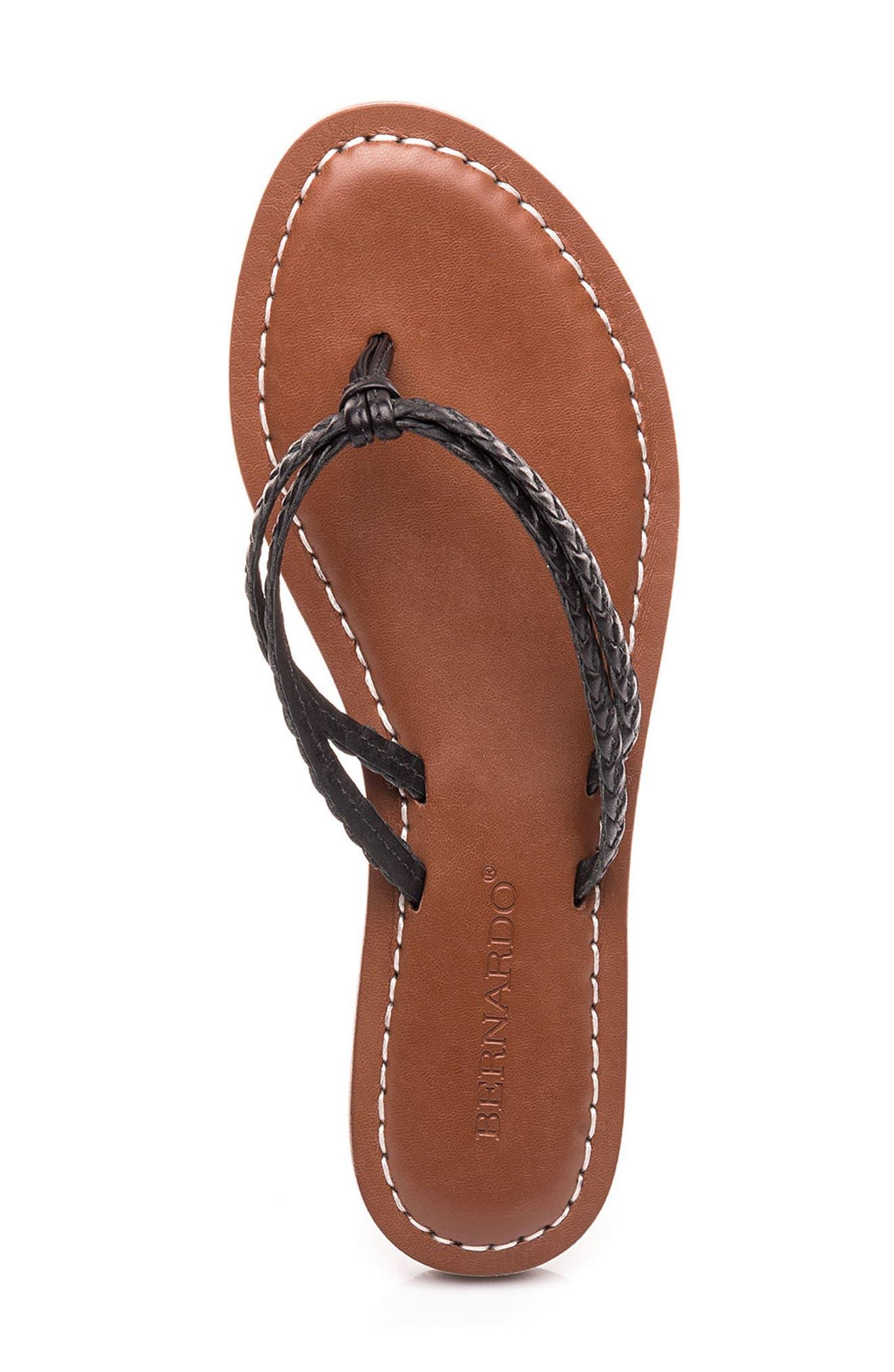 Bernardo Greta Braided Strap Sandal,                             Alternate thumbnail 5, color,                             Black Leather