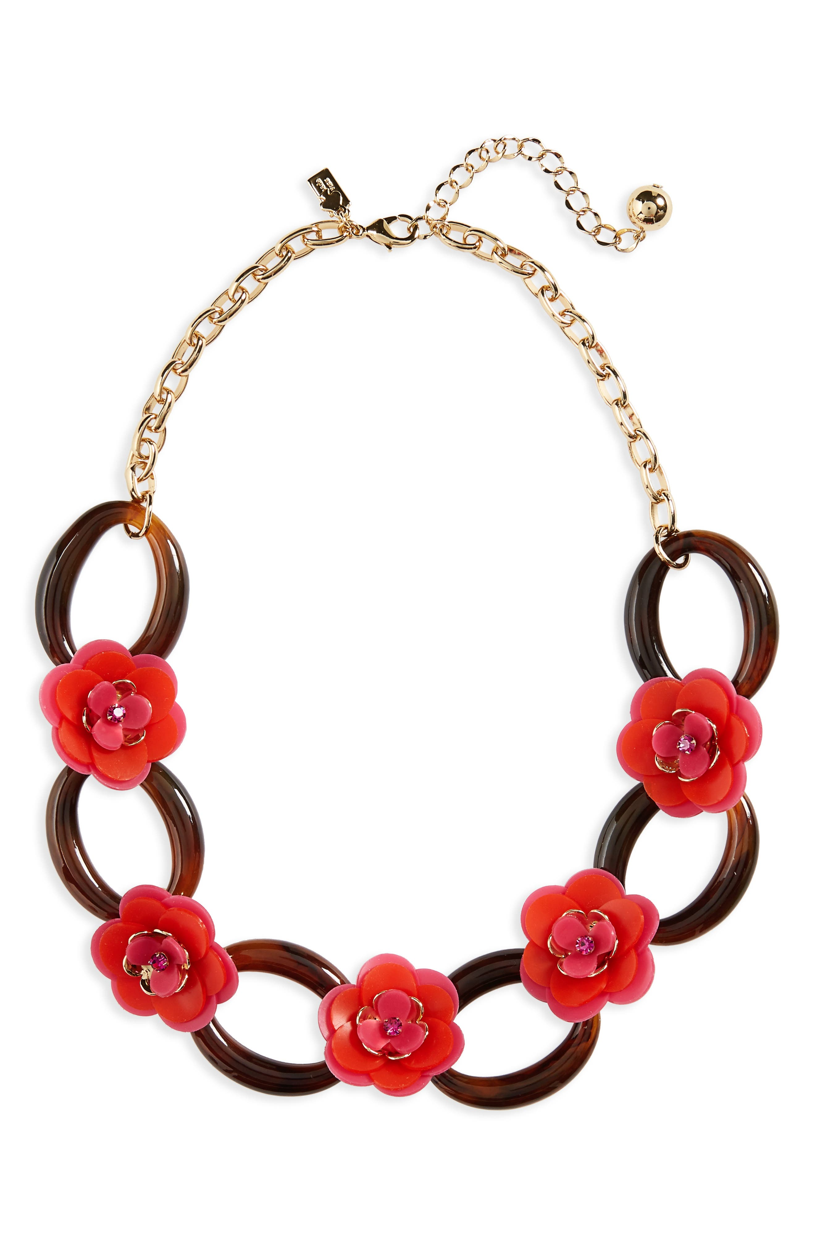 kate spade rose posies link necklace,                         Main,                         color, Pink Multi