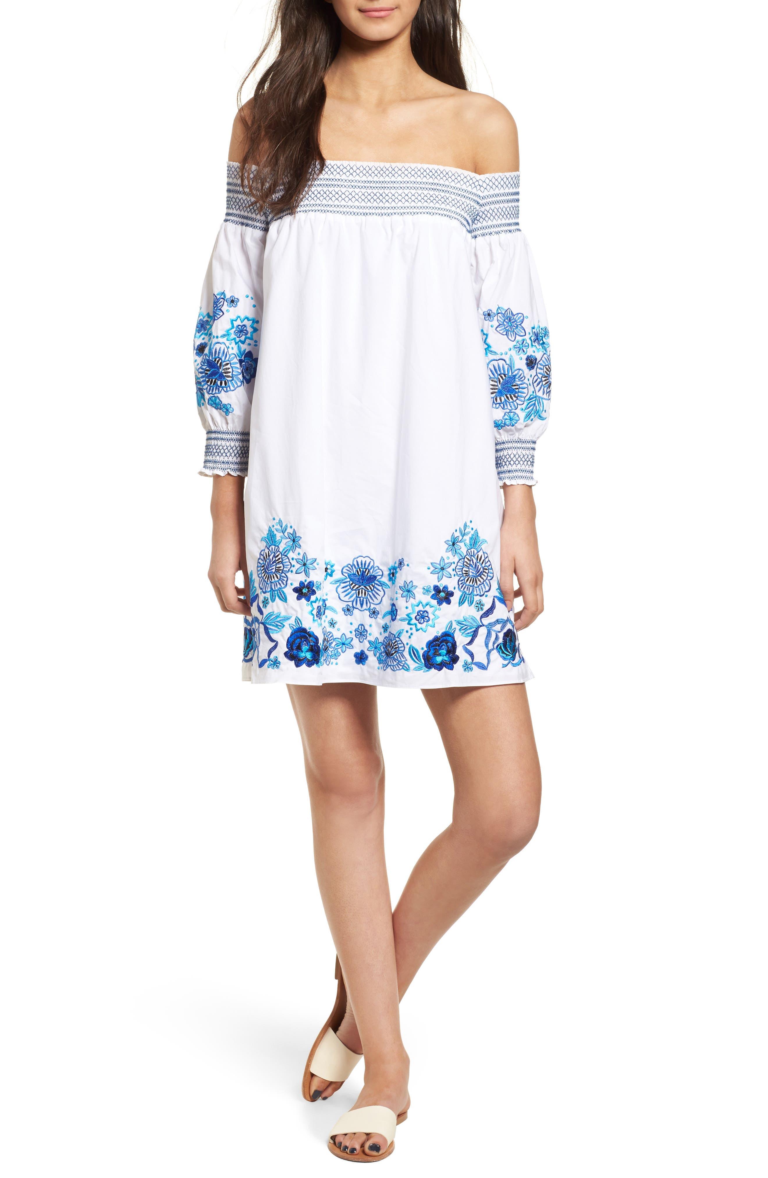 Jace Embroidered Off the Shoulder Shift Dress,                         Main,                         color, White