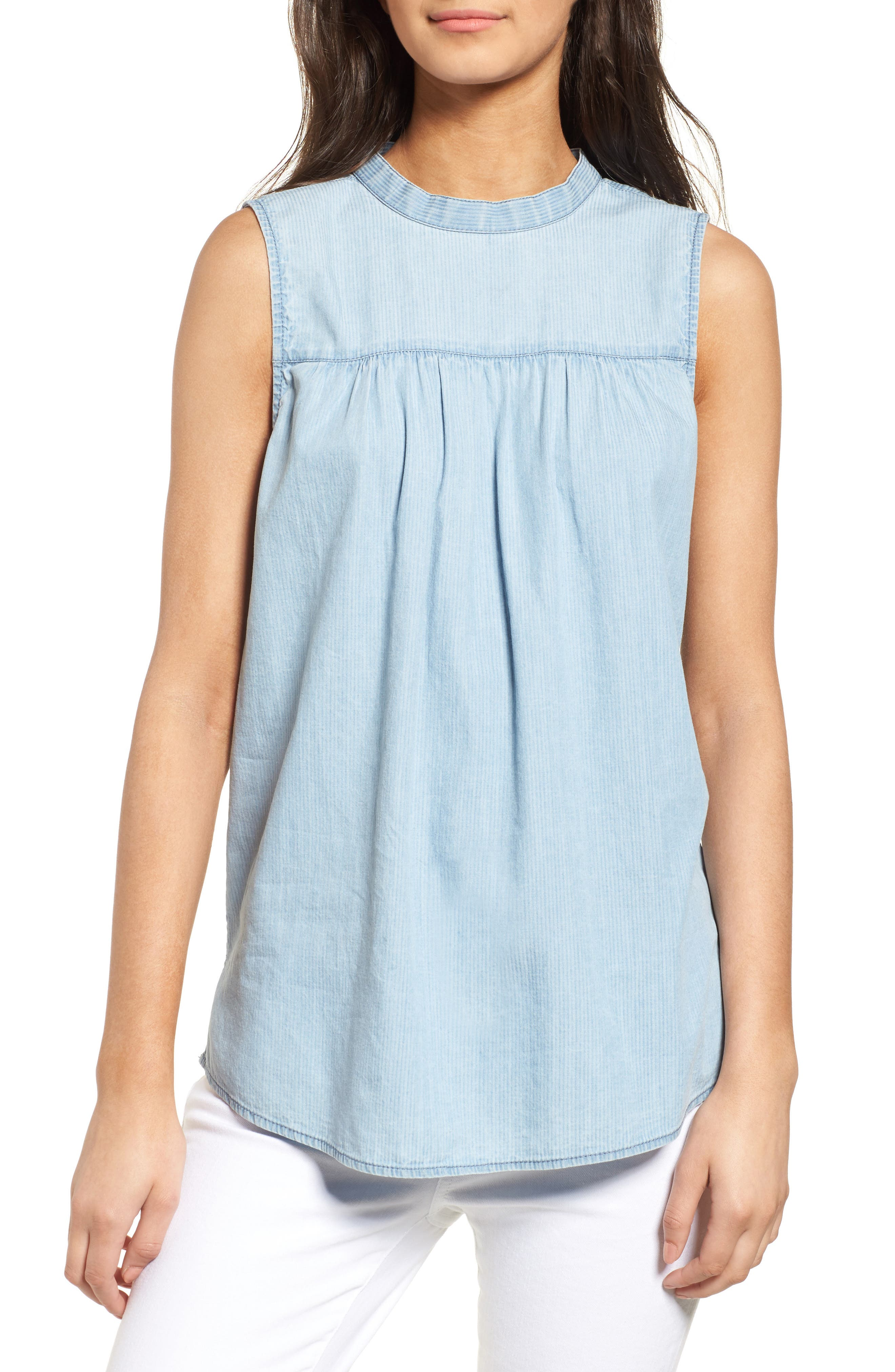 Ruffle Chambray Top,                             Main thumbnail 1, color,                             Blue Cashmere
