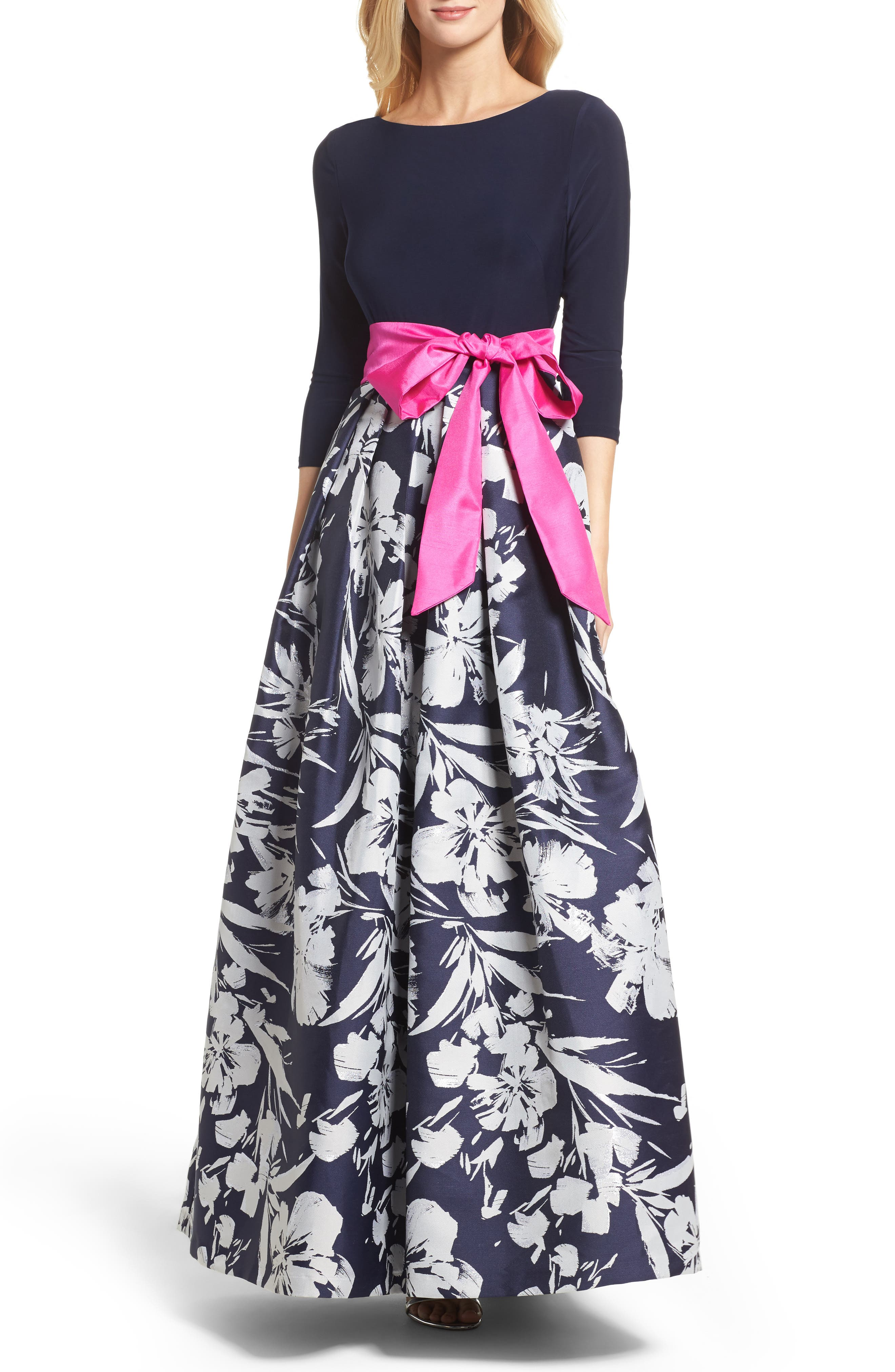 Floral Jacquard Gown,                             Main thumbnail 1, color,                             Navy