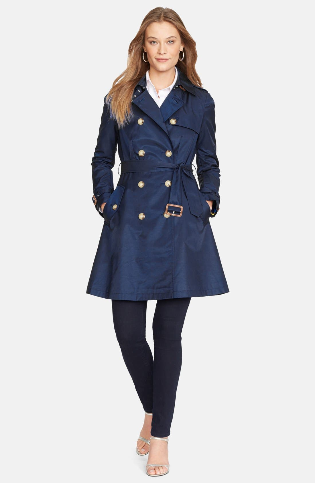 Water Resistant Double Breasted Skirted Trench Coat,                         Main,                         color, Capri Navy