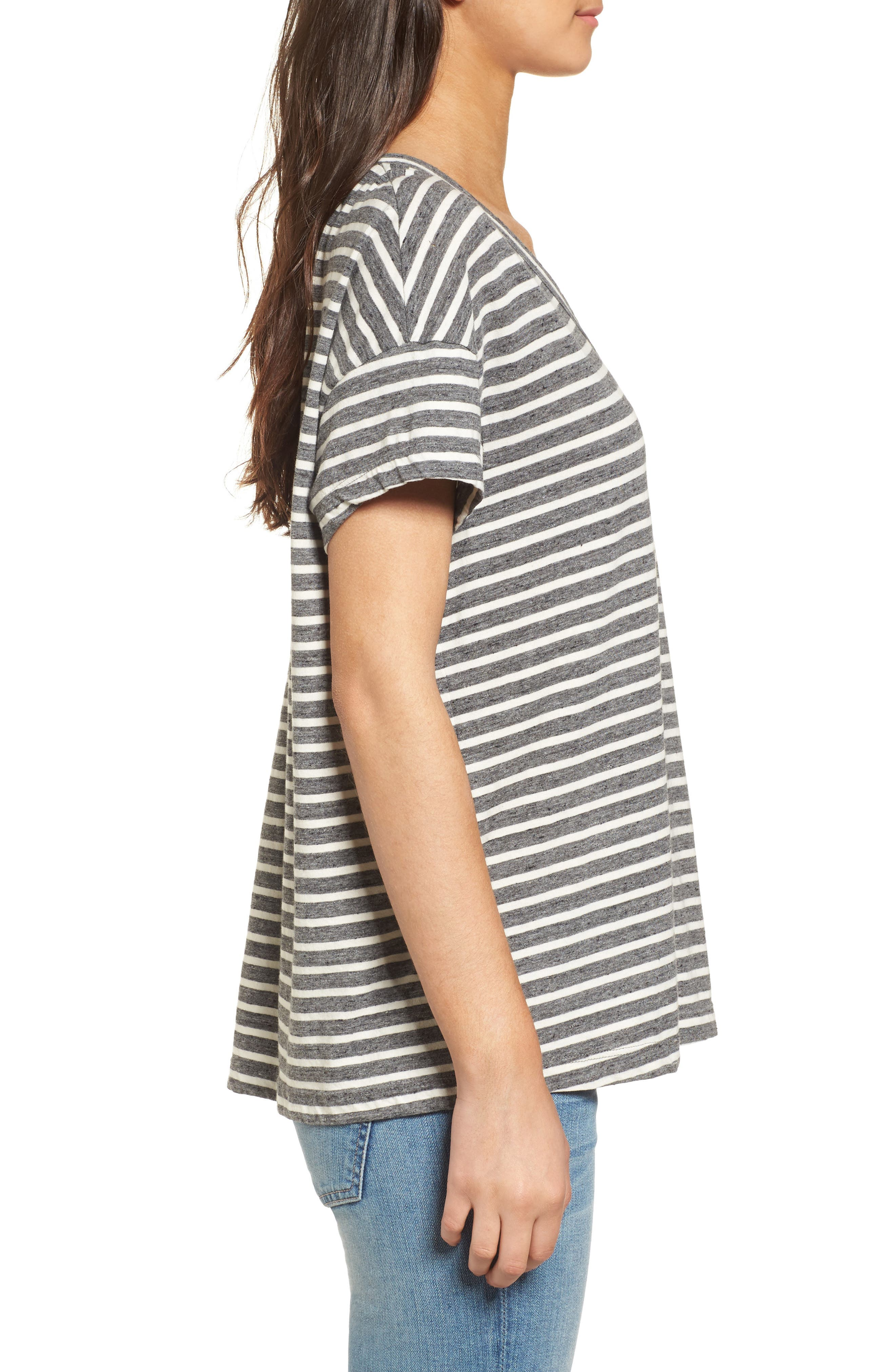 Stripe Slouchy Tee,                             Alternate thumbnail 3, color,                             Charcoal Anchor Stripe