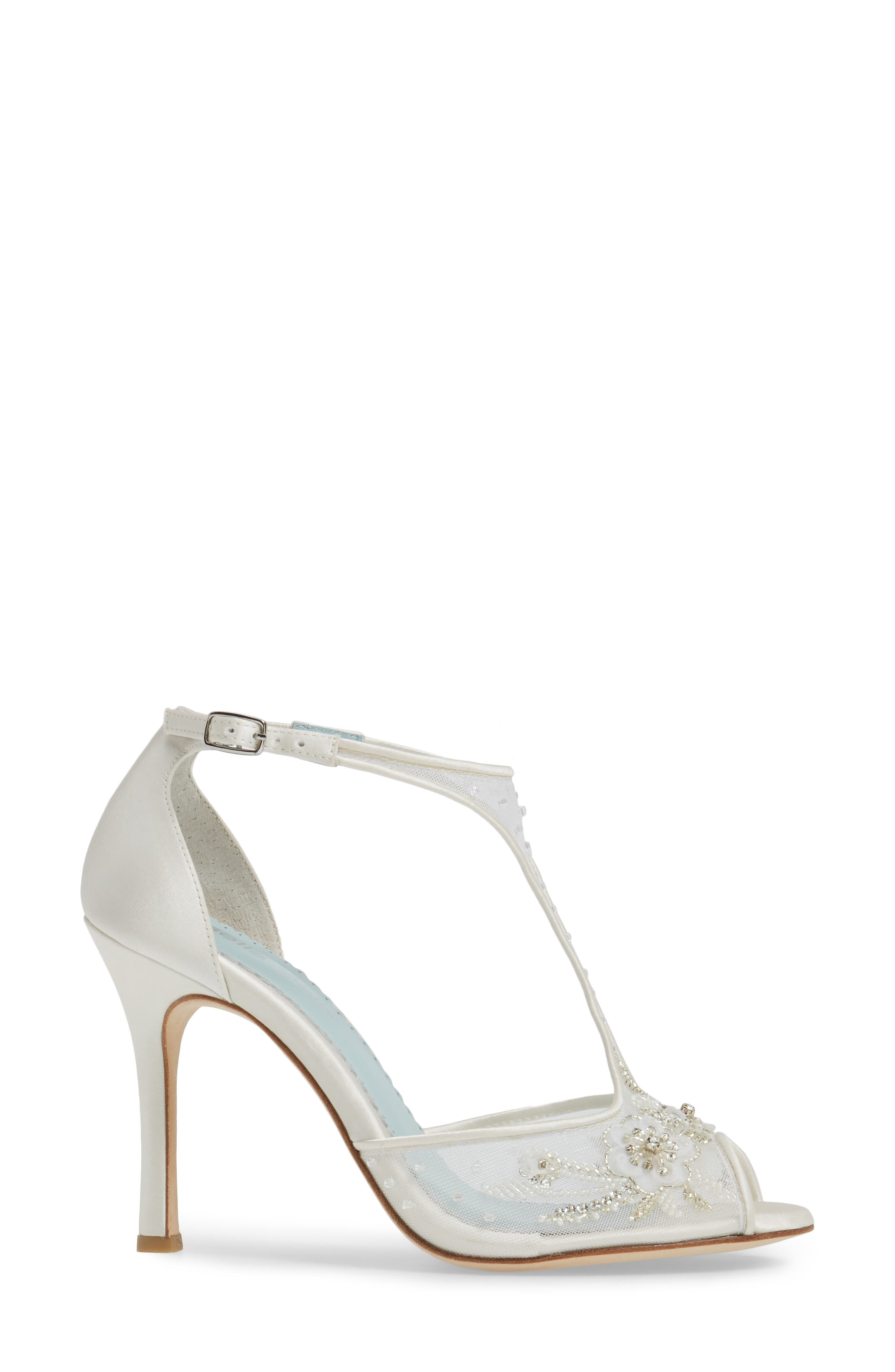 Paloma T-Strap Pump,                             Alternate thumbnail 3, color,                             Ivory Fabric