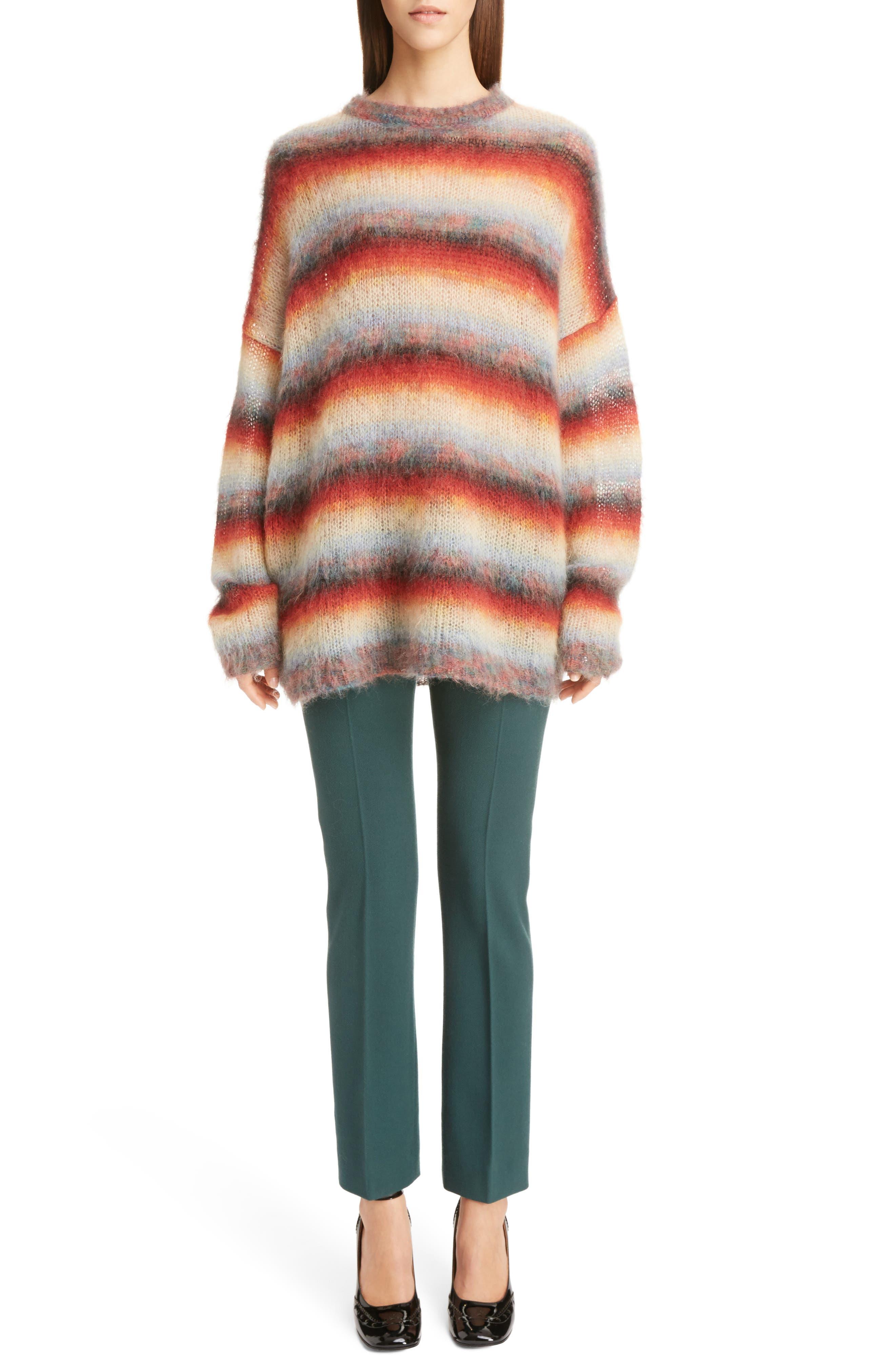 Mohair Blend Dégradé Stripe Sweater,                             Alternate thumbnail 6, color,                             Multi