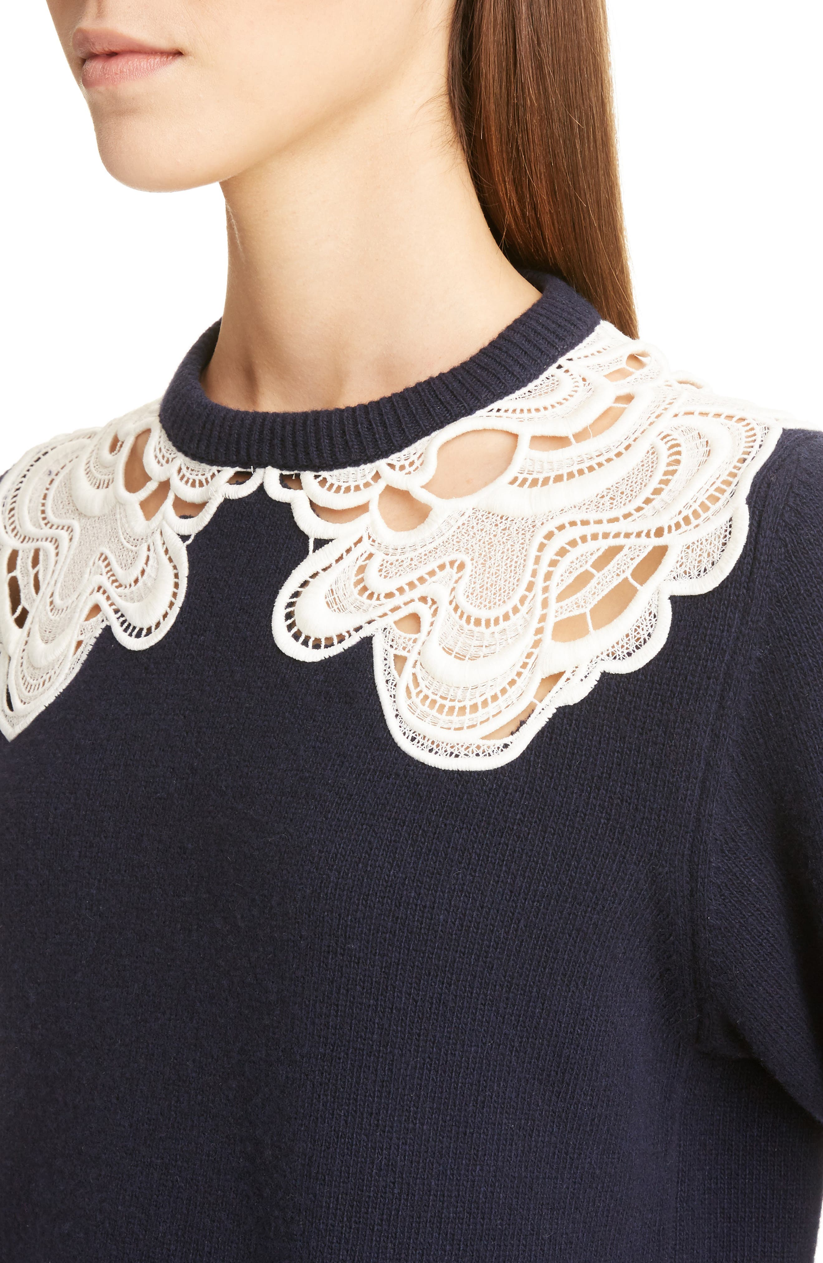 Guipure Lace Detail Wool & Cashmere Sweater,                             Alternate thumbnail 4, color,                             Iconic Navy