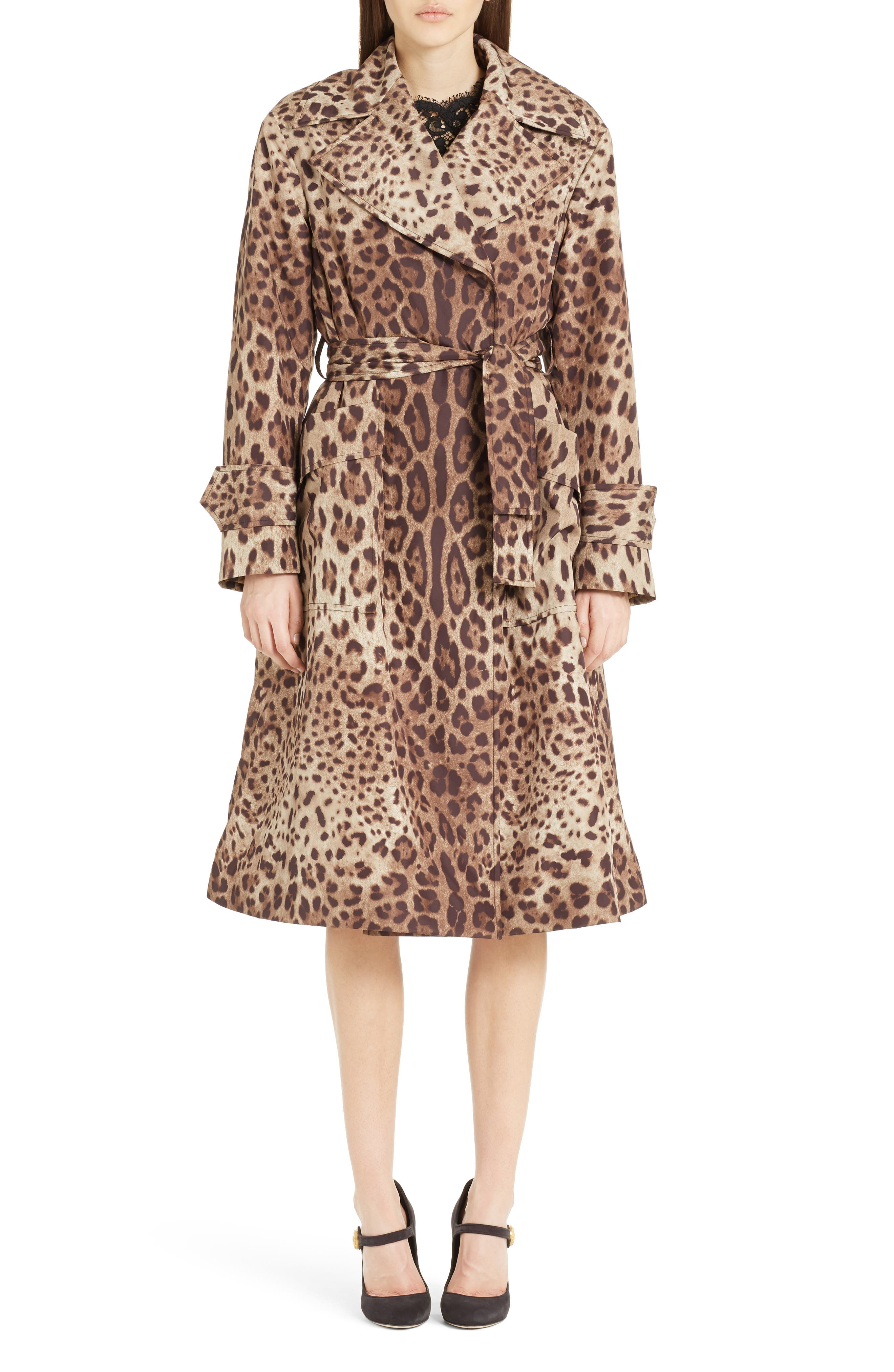 Leopard Print Trench Coat,                             Alternate thumbnail 5, color,                             Leopard