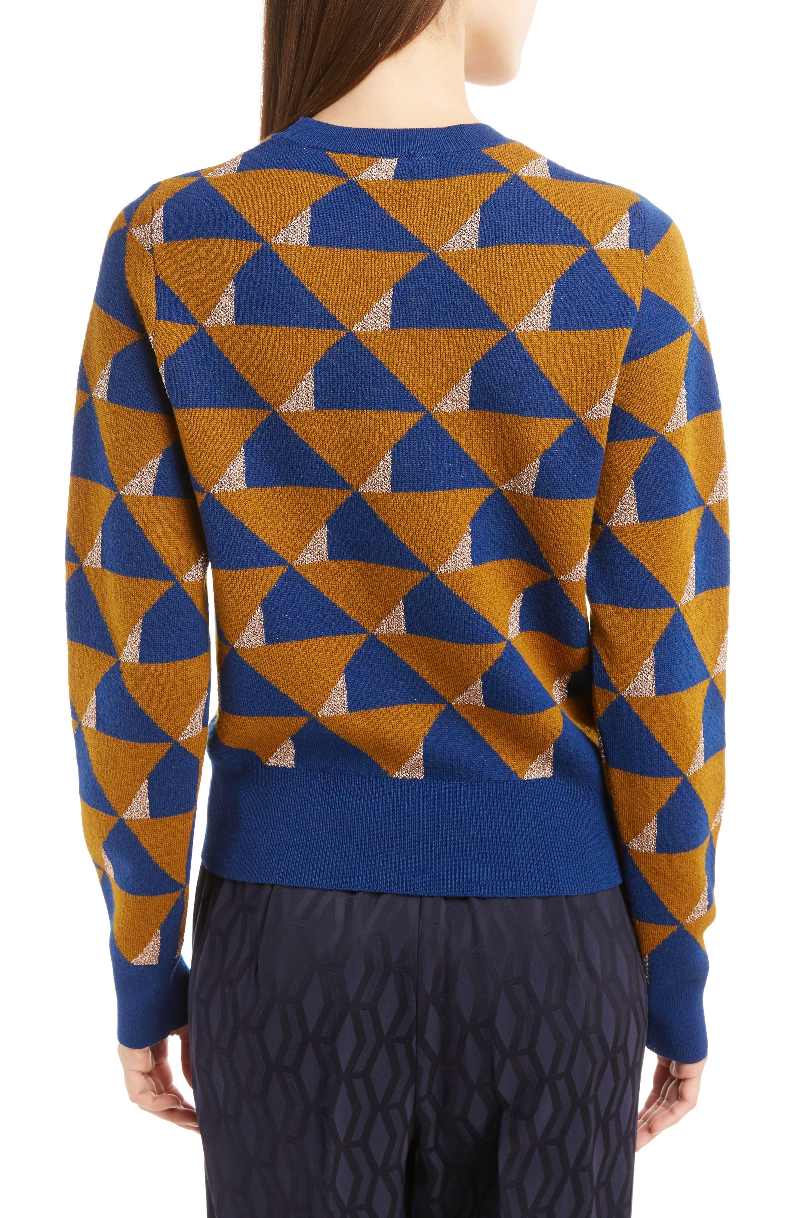 Graphic Knit Merino Wool Sweater,                             Alternate thumbnail 2, color,                             Ocra