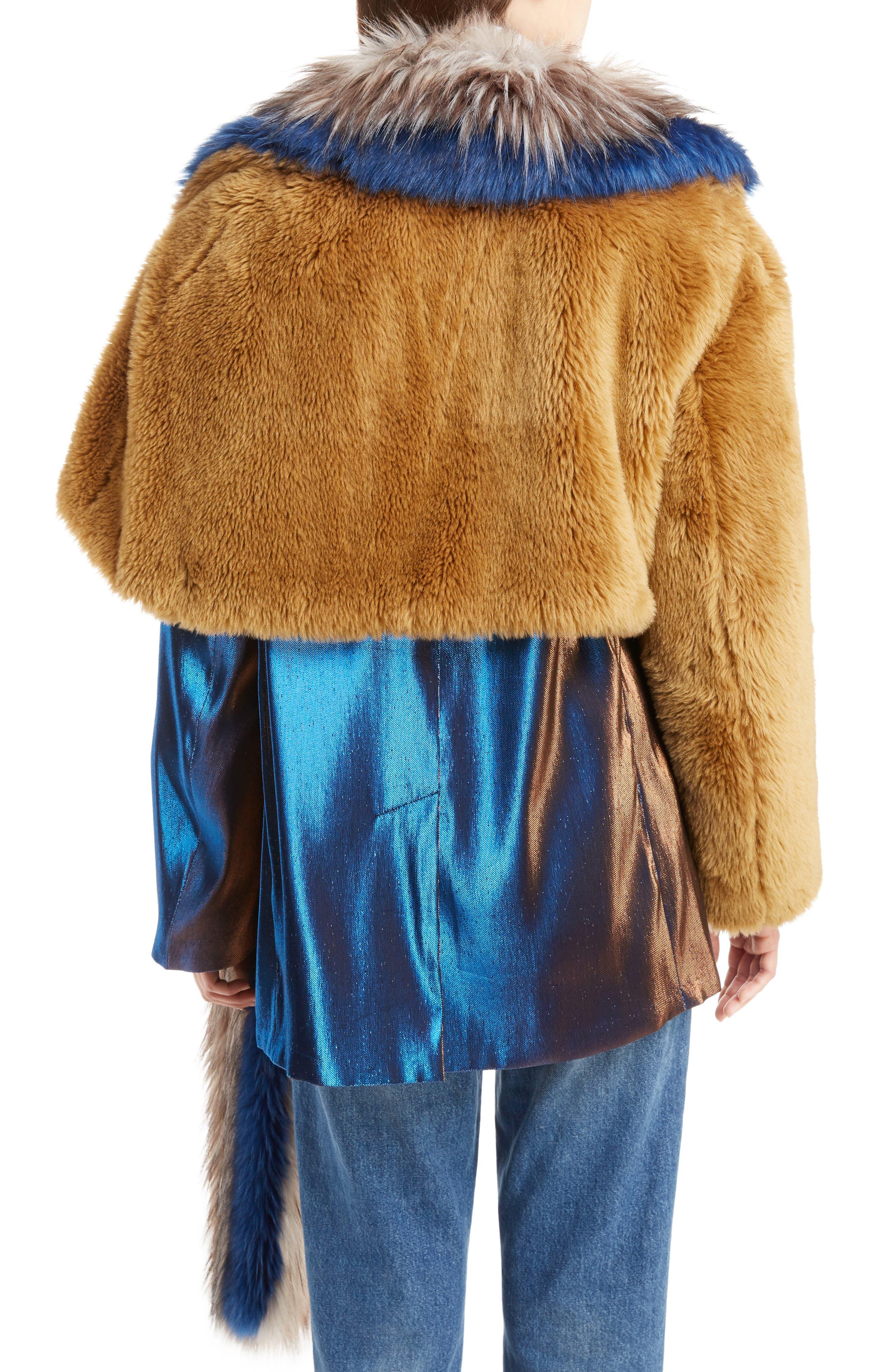 Faux Fur Asymmetrical Shrug,                             Alternate thumbnail 2, color,                             Camel