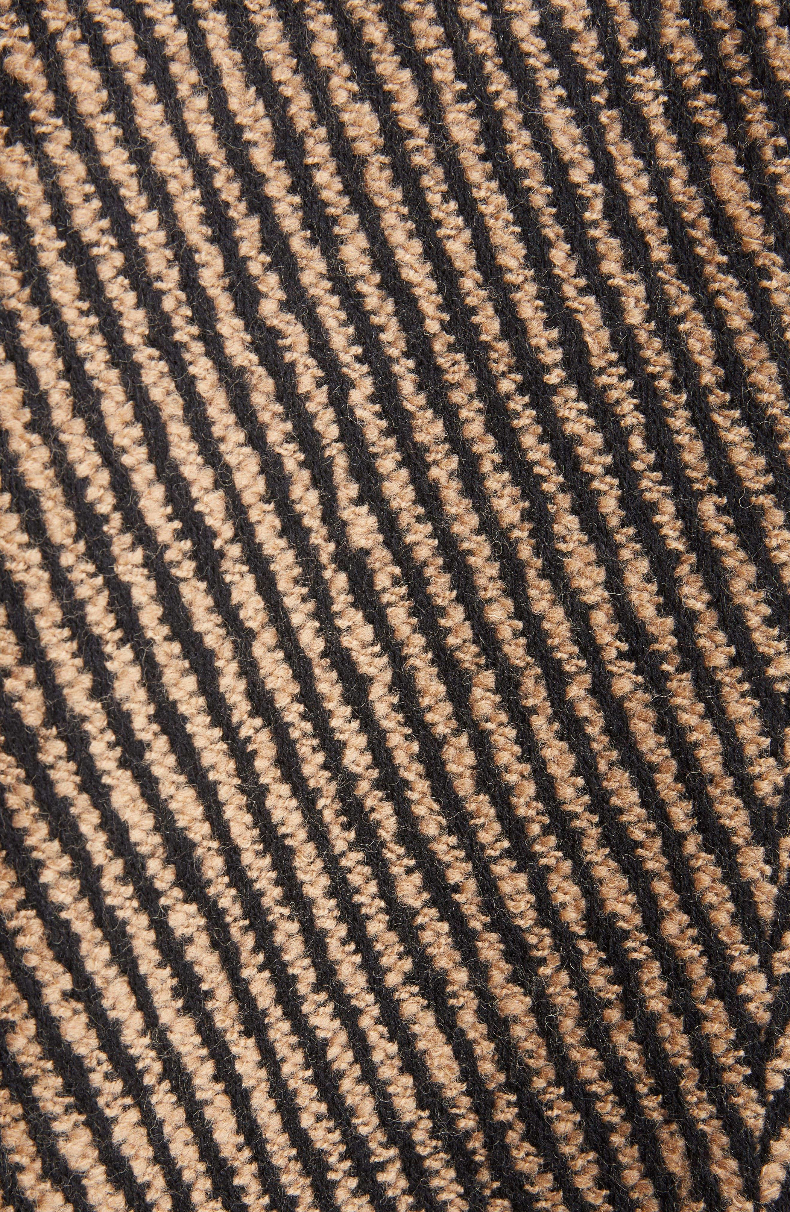 Faux Fur Collar Herringbone Coat,                             Alternate thumbnail 3, color,                             Camel