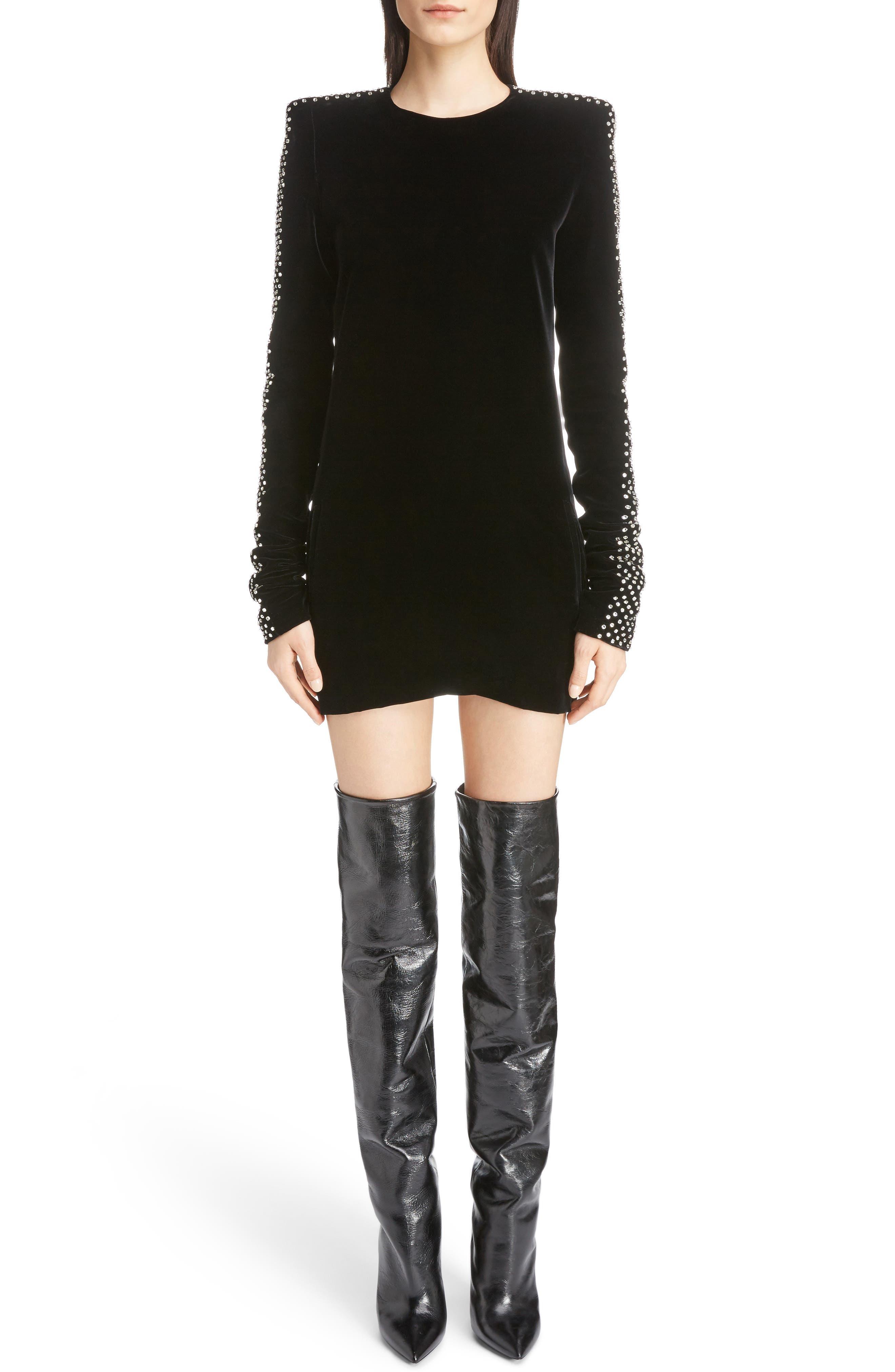 Saint Laurent Crystal Embellished Velvet Dress