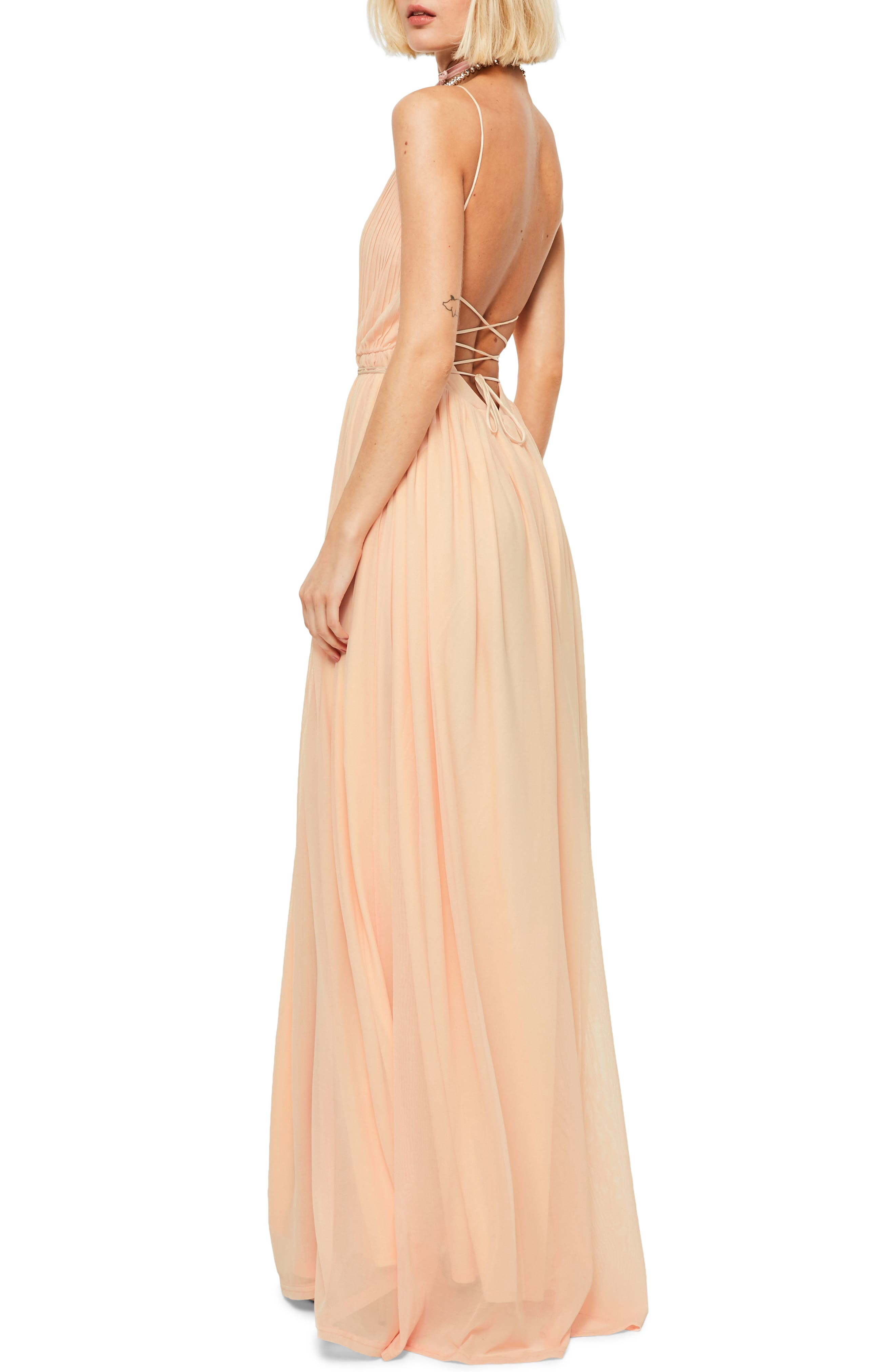 Plunging Neck Maxi Dress,                             Alternate thumbnail 2, color,                             Nude