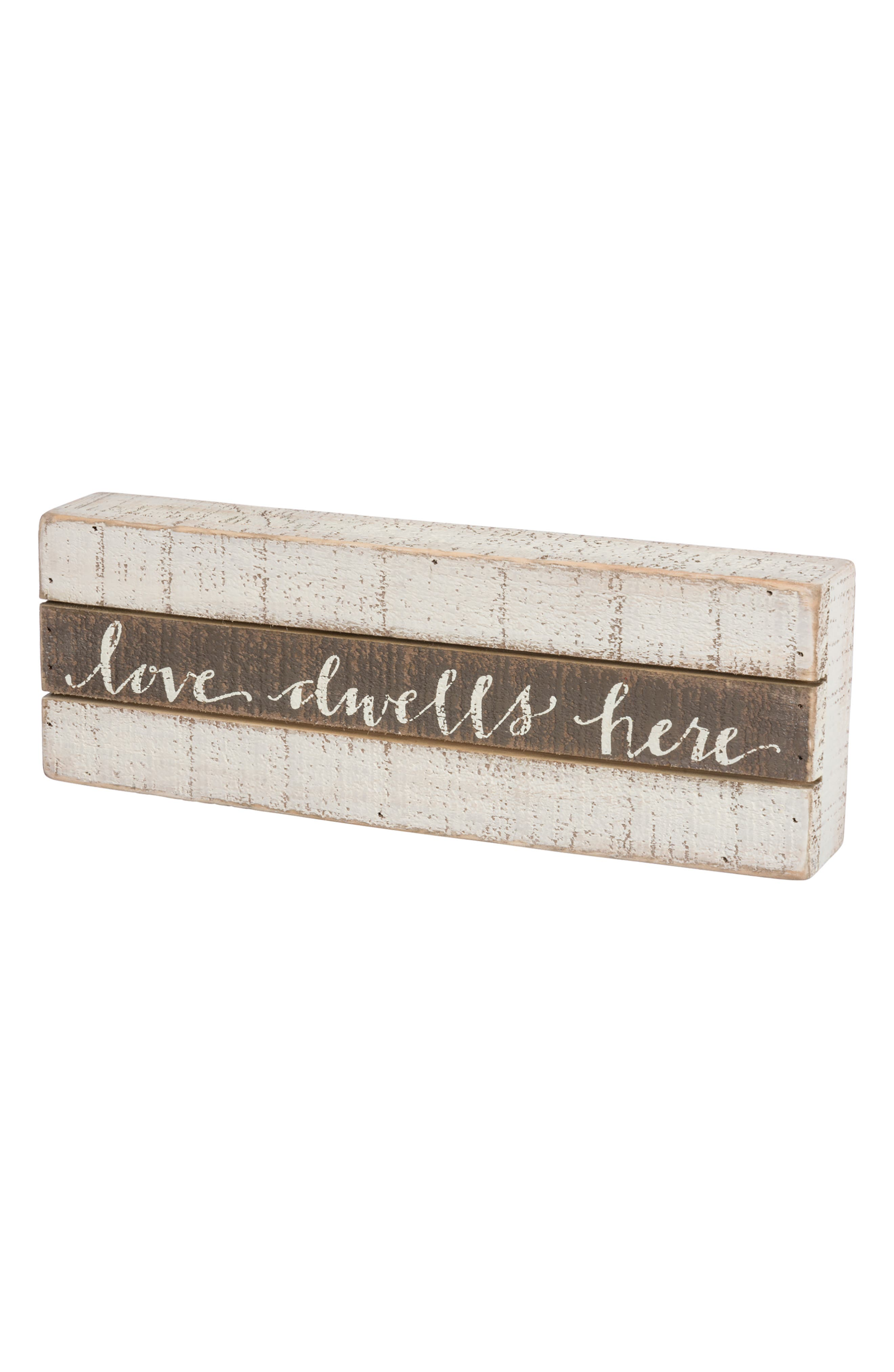 Love Dwells Here Wood Box Sign,                         Main,                         color, Grey
