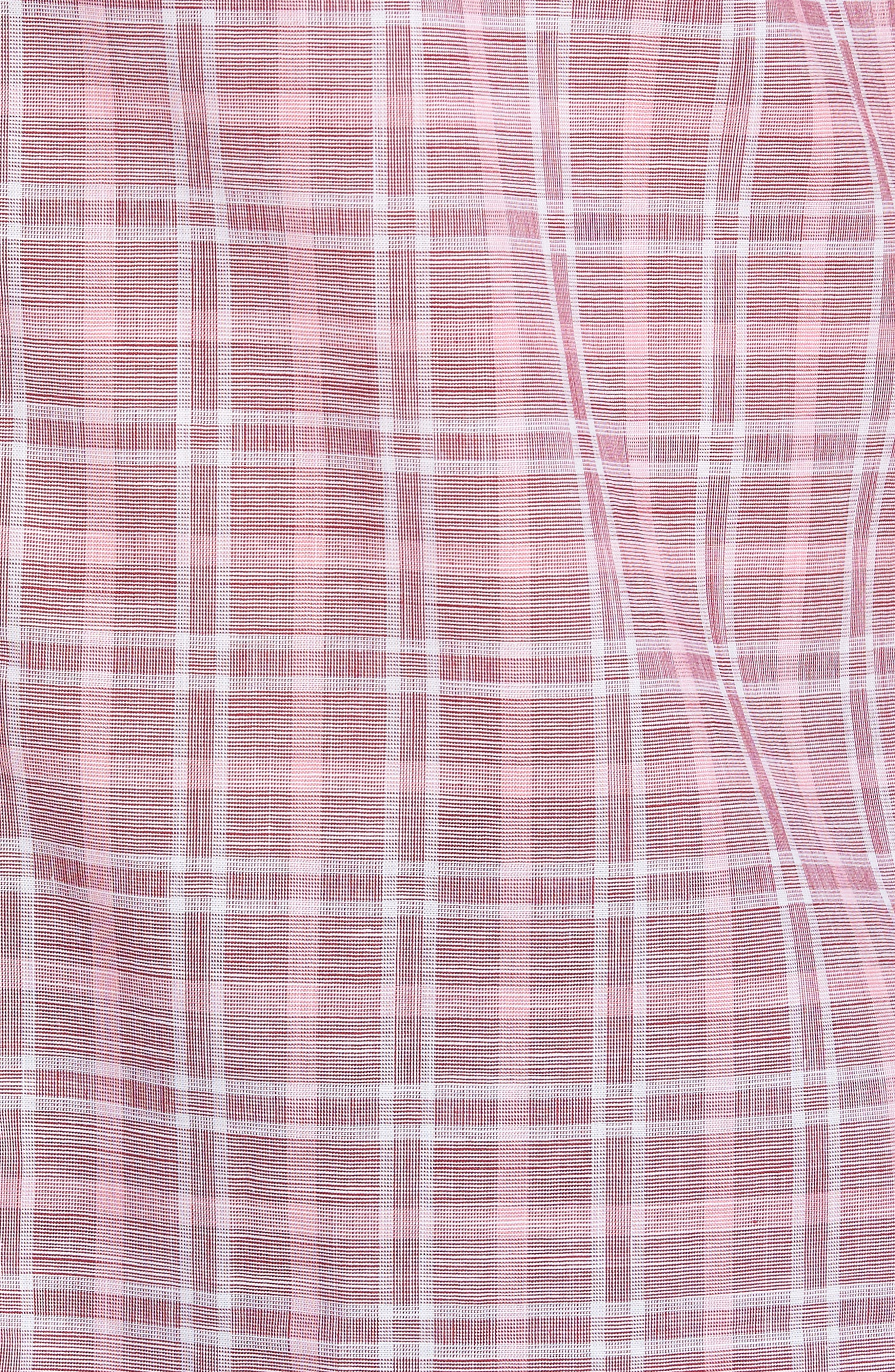 Holland Plaid Short Sleeve Sport Shirt,                             Alternate thumbnail 5, color,                             Red