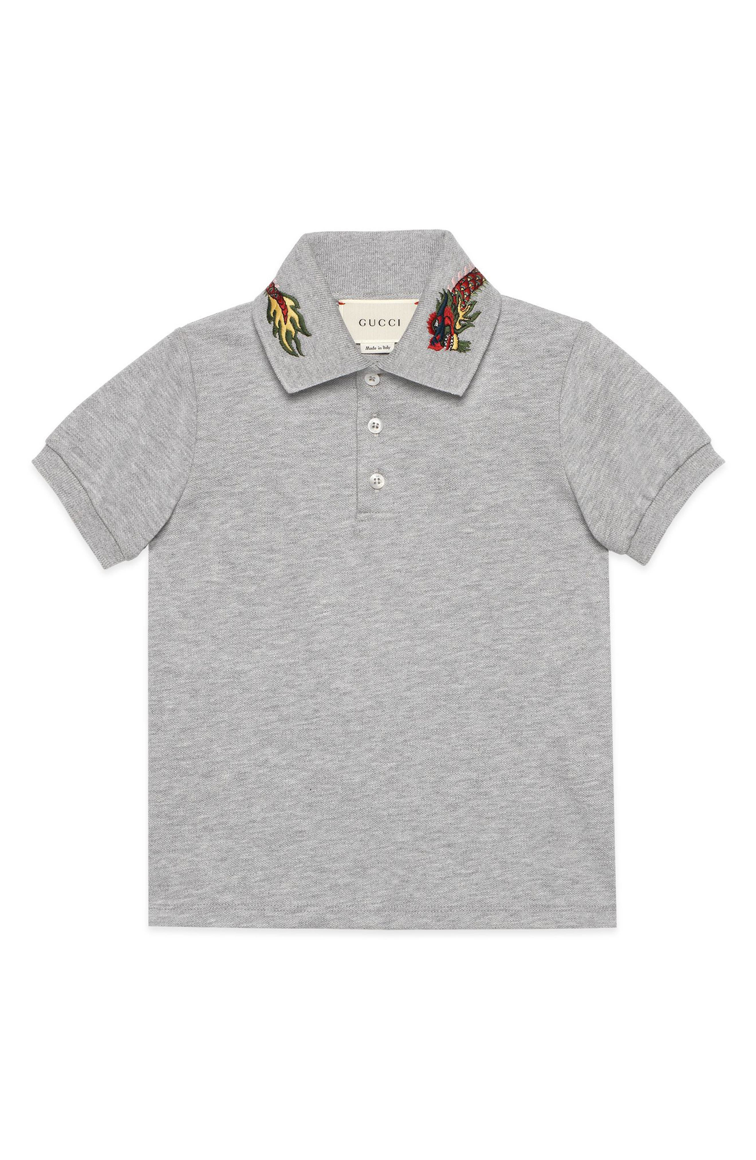 Embroidered Collar Polo,                             Main thumbnail 1, color,                             Grey Multi