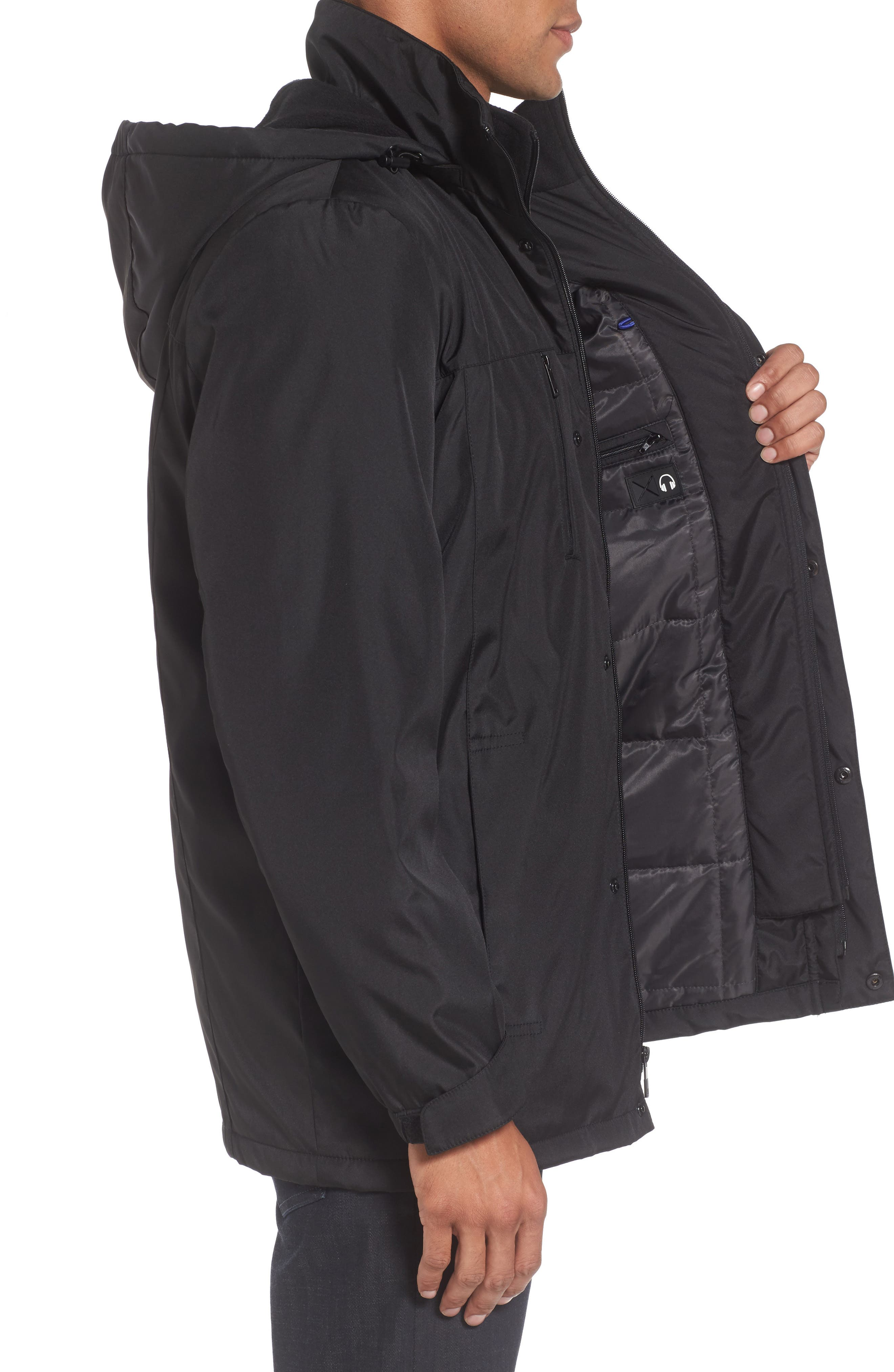 Hooded Jacket with Inset Fleece Bib,                             Alternate thumbnail 3, color,                             Black