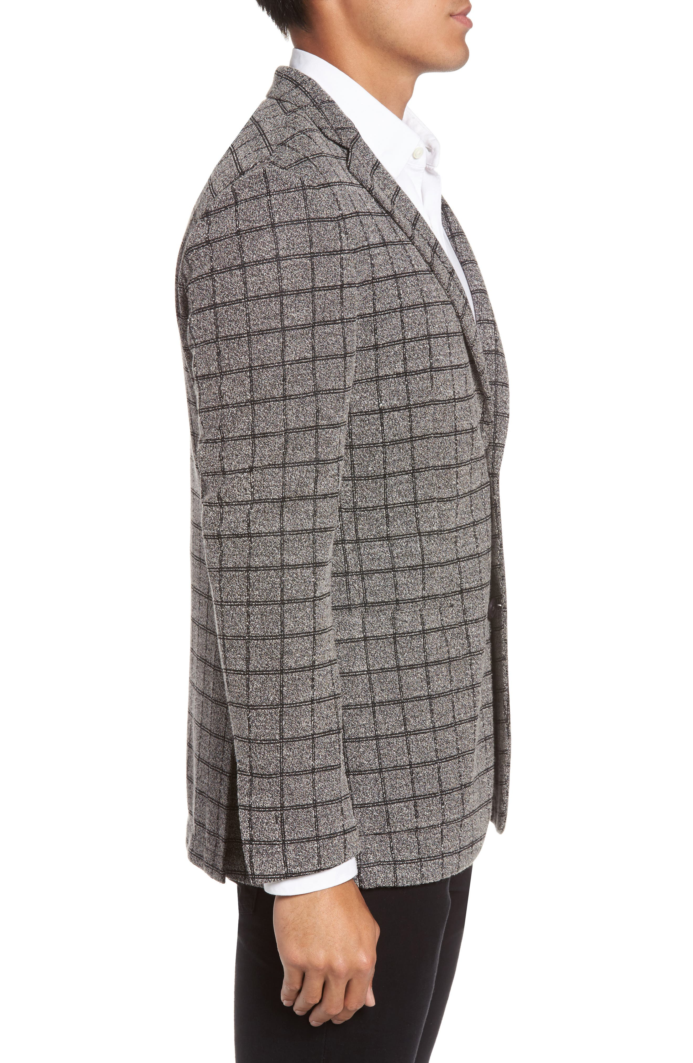 Del Aria Slim Fit Check Knit Jacket,                             Alternate thumbnail 3, color,                             Charcoal Windowpane Boucle