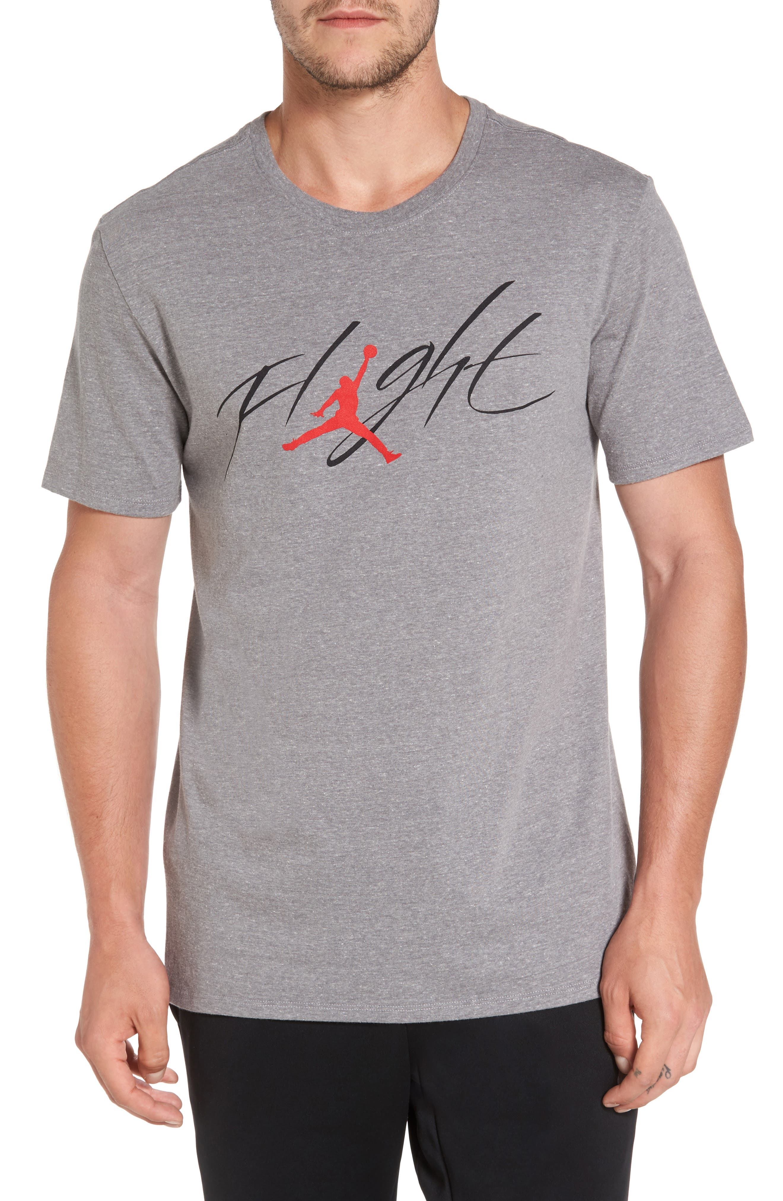 Sportswear Flight T-Shirt,                         Main,                         color, Carbon Heather/ Black/ Red