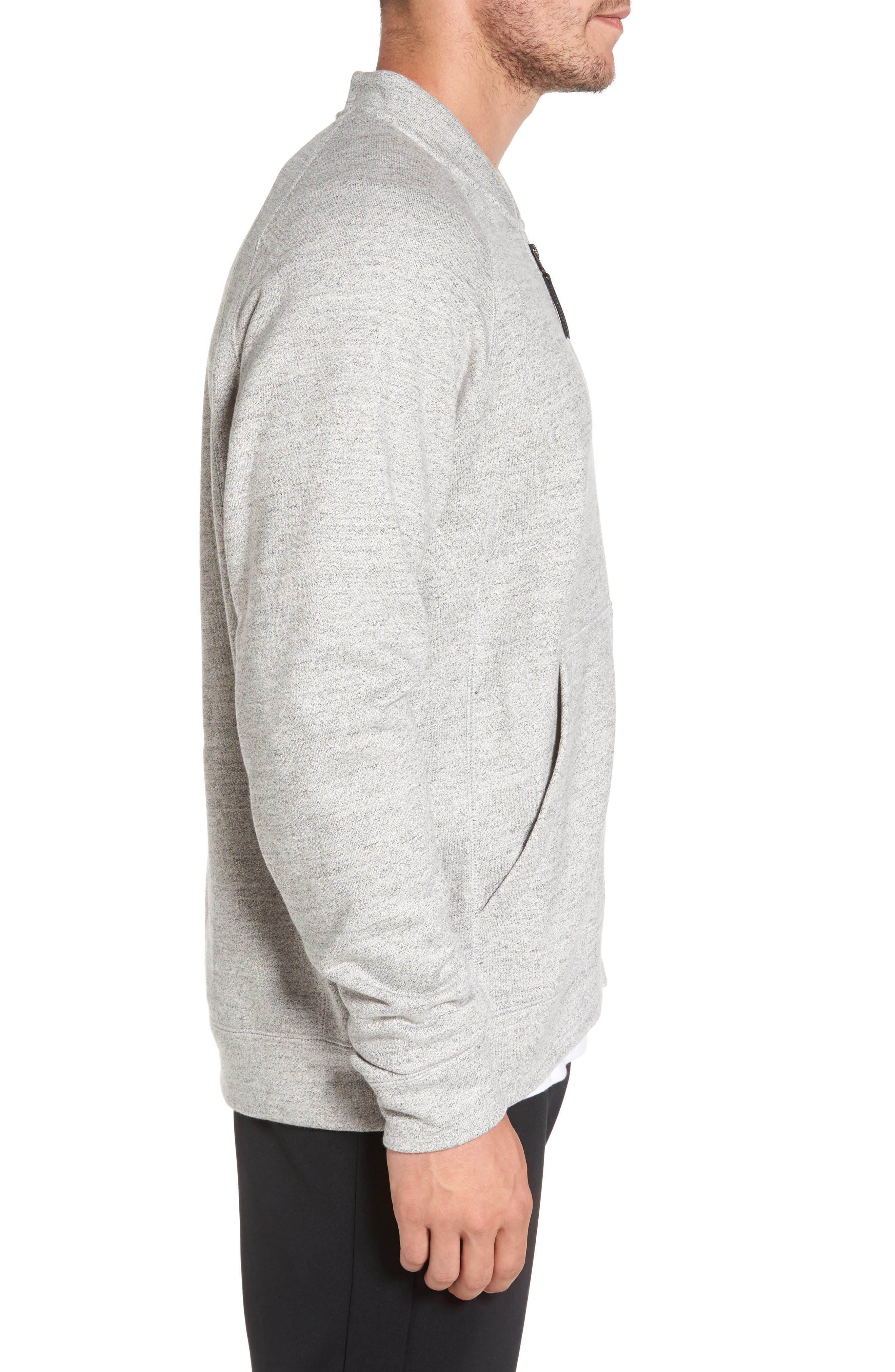 Sportswear Wings Fleece Bomber Jacket,                             Alternate thumbnail 3, color,                             Dark Grey Heather/ Black
