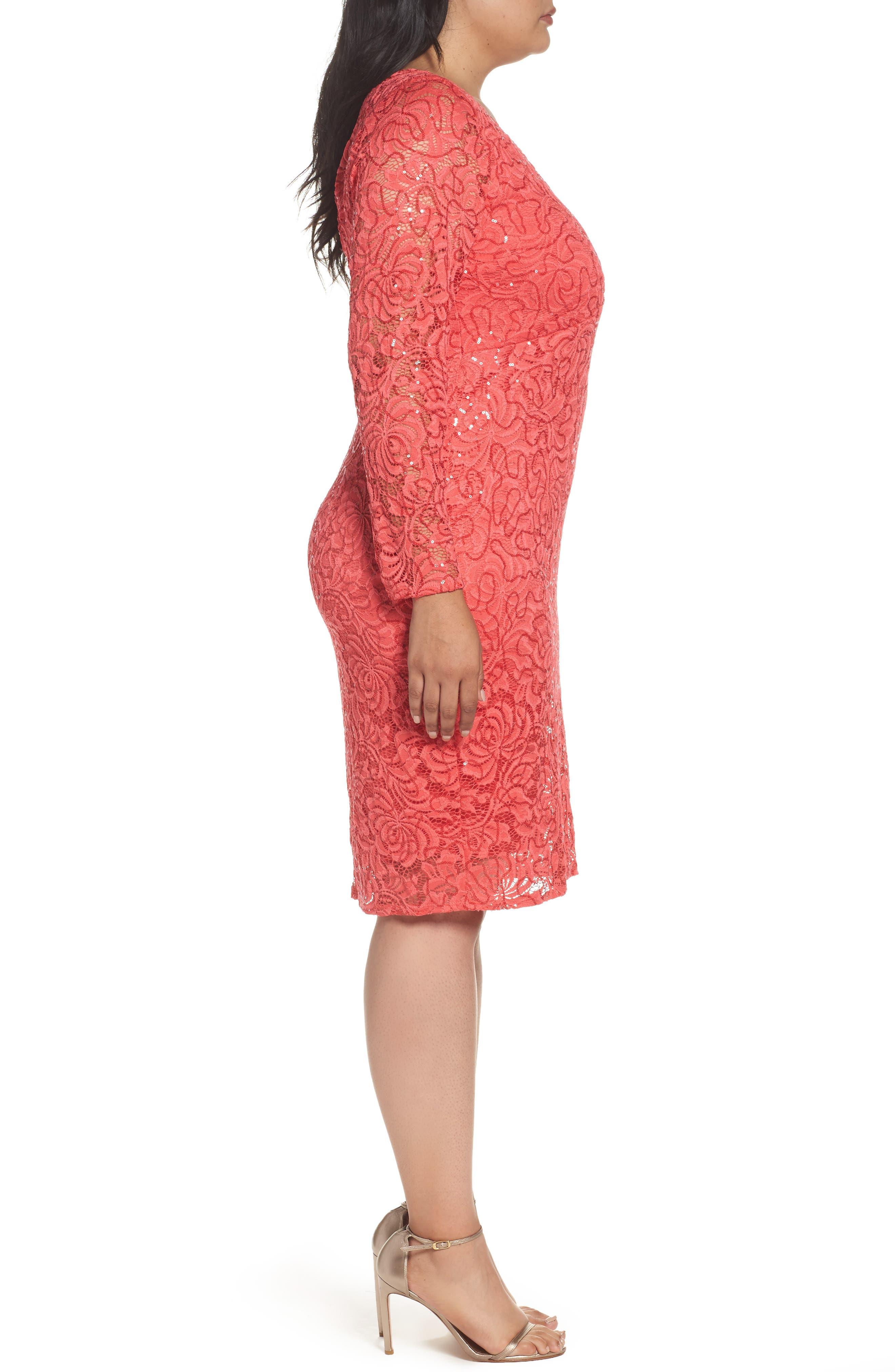 Lace Sheath Dress,                             Alternate thumbnail 3, color,                             Coral
