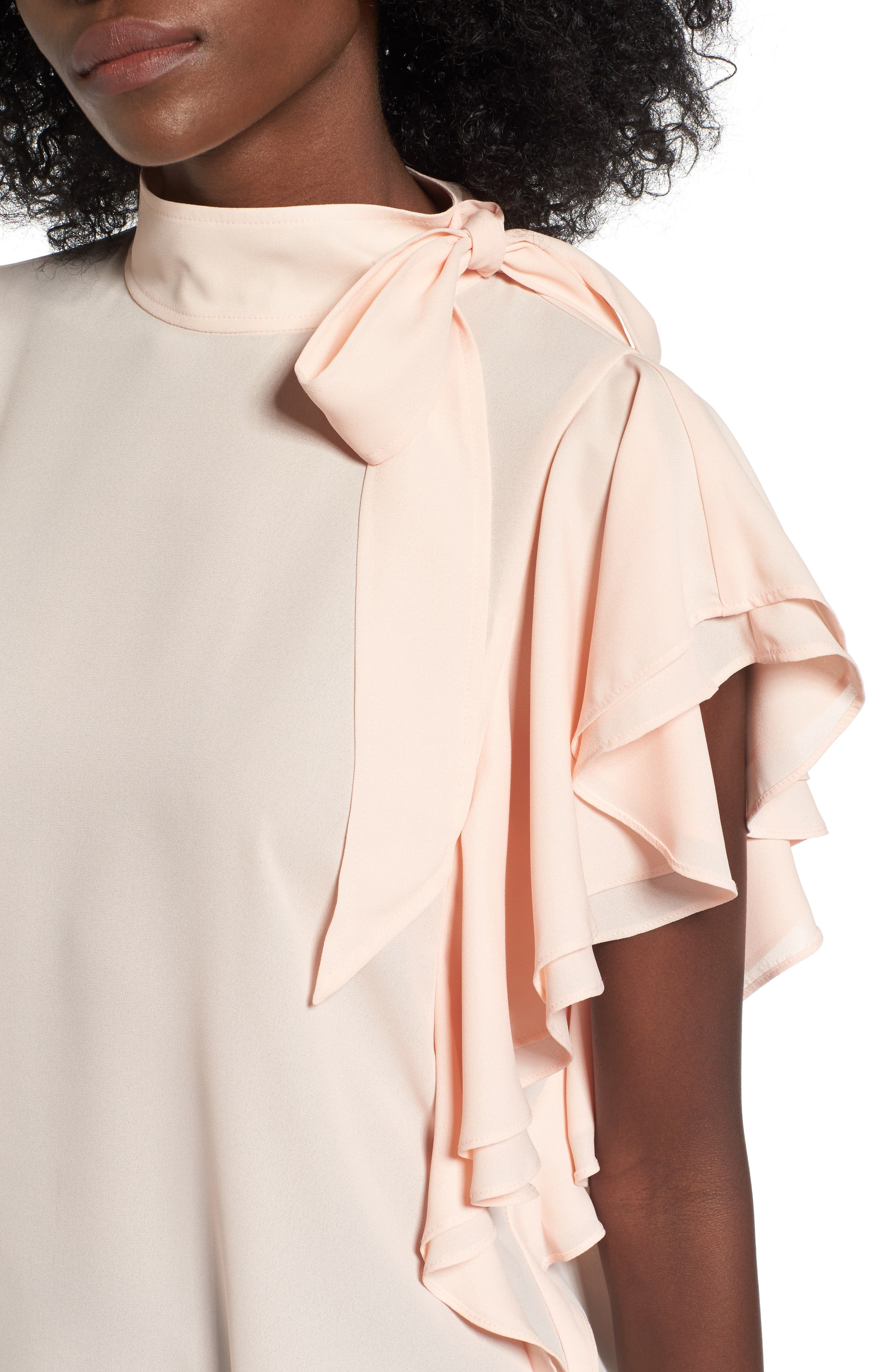 Alternate Image 4  - Leith Ruffle Tie Neck Top