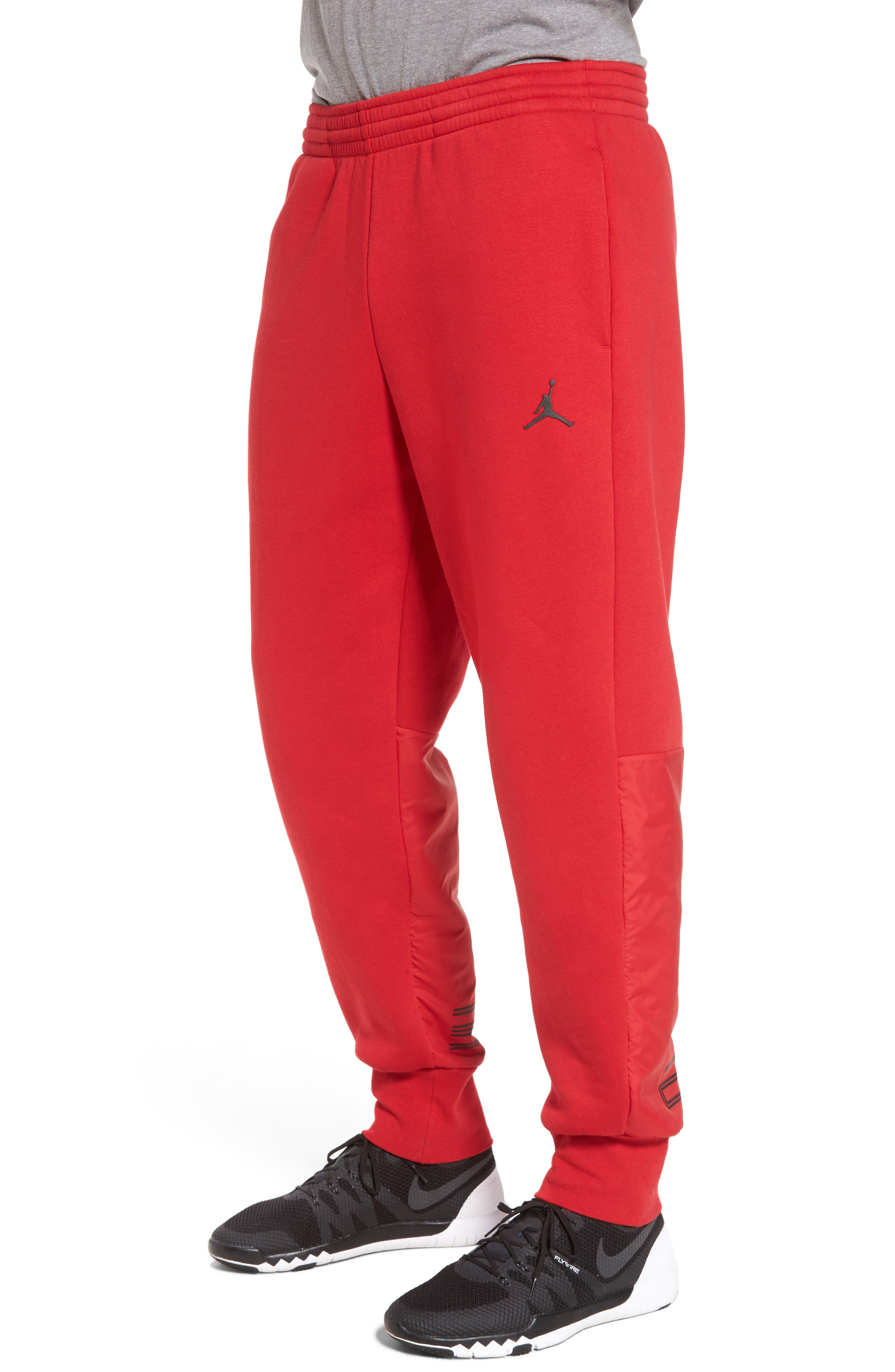 Jordan AJ11 Hybrid Pants,                             Alternate thumbnail 3, color,                             Gym Red