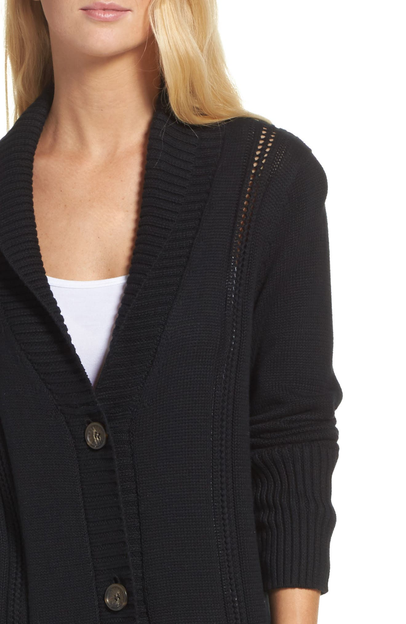Hayley Long Cardigan,                             Alternate thumbnail 5, color,                             Black