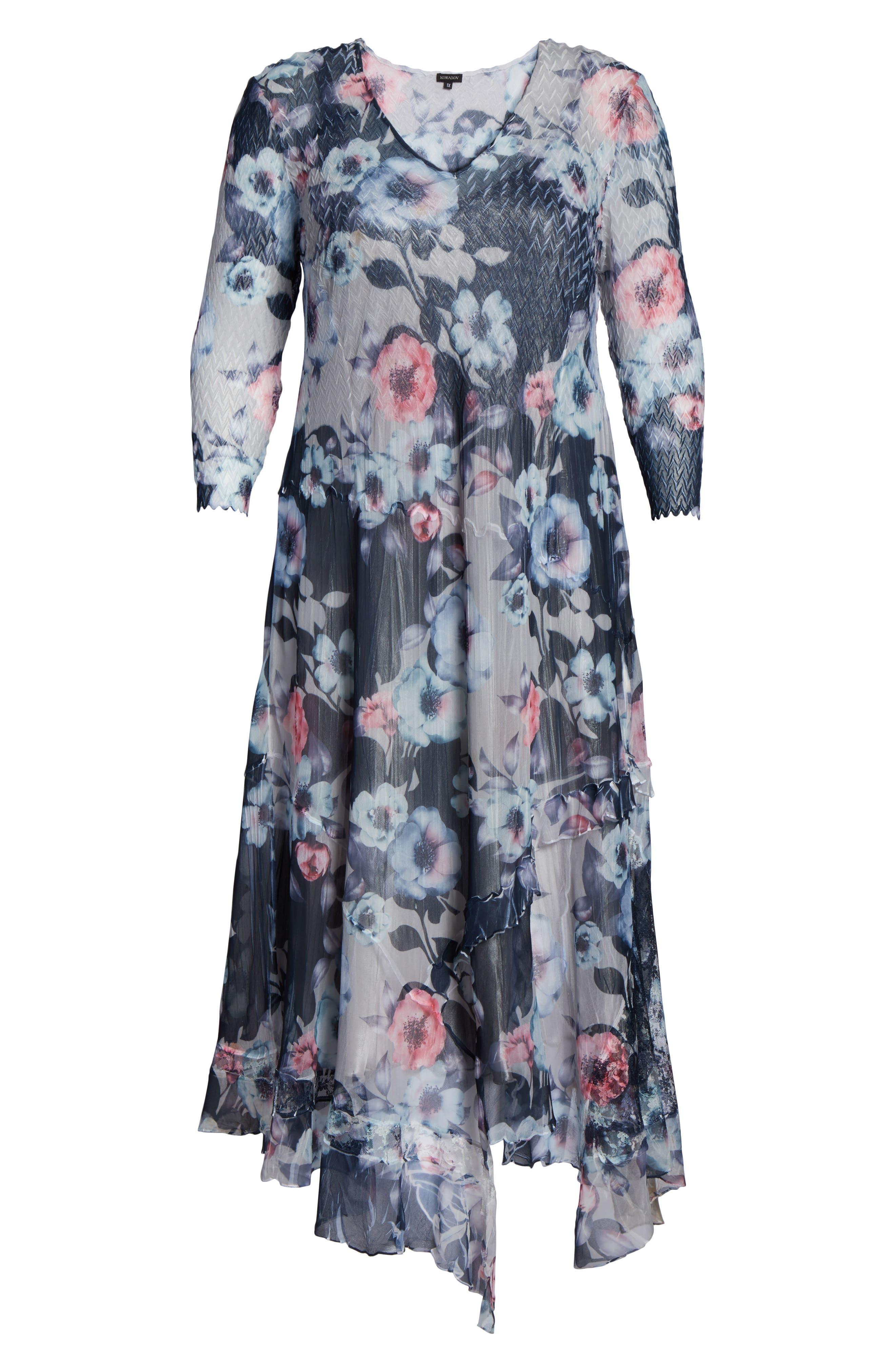 Handkerchief Hem Floral Charmeuse & Chiffon Dress,                             Alternate thumbnail 6, color,                             Celestial Vine
