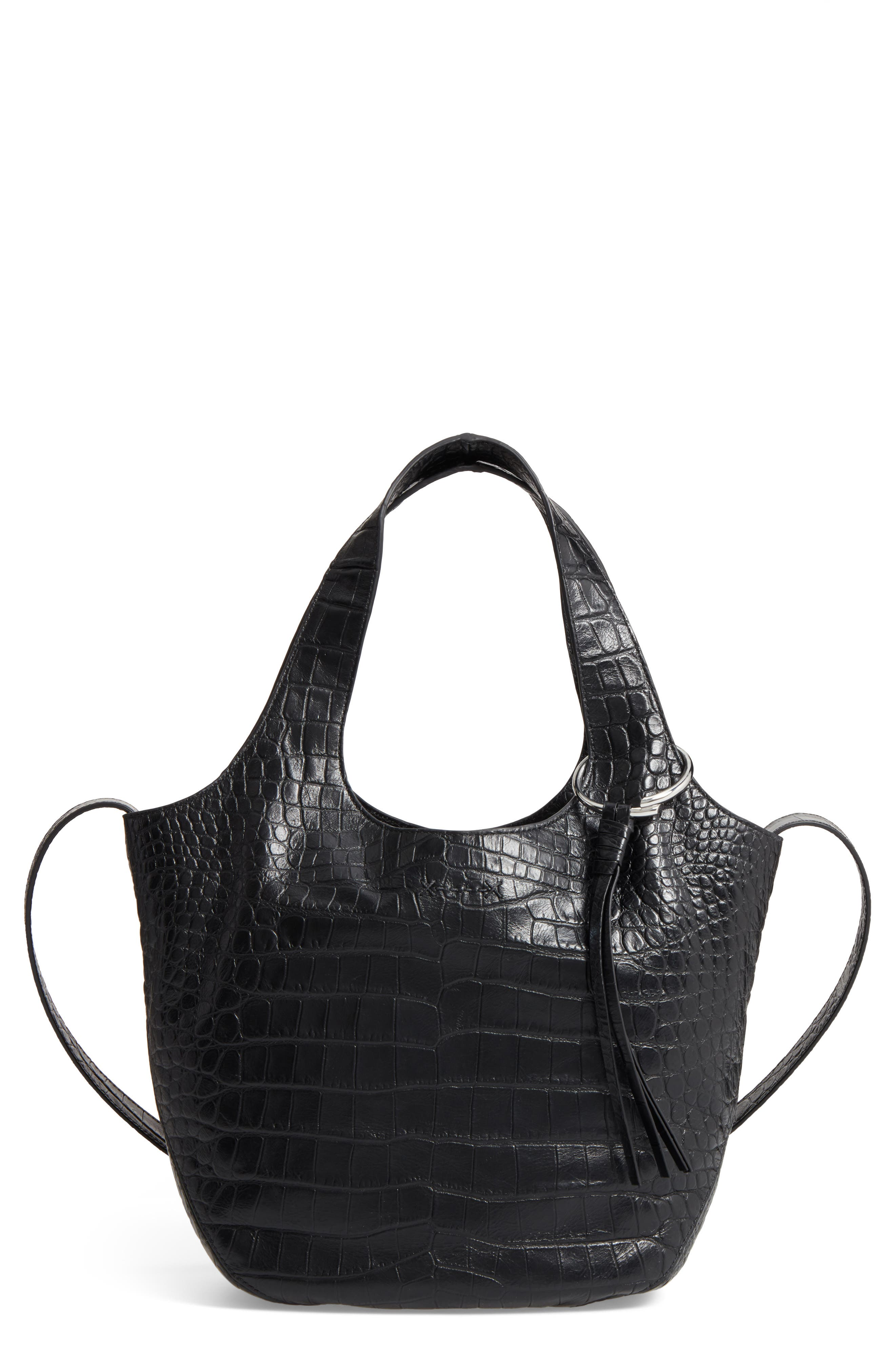Small Finley Embossed Leather Shopper,                             Main thumbnail 1, color,                             Black