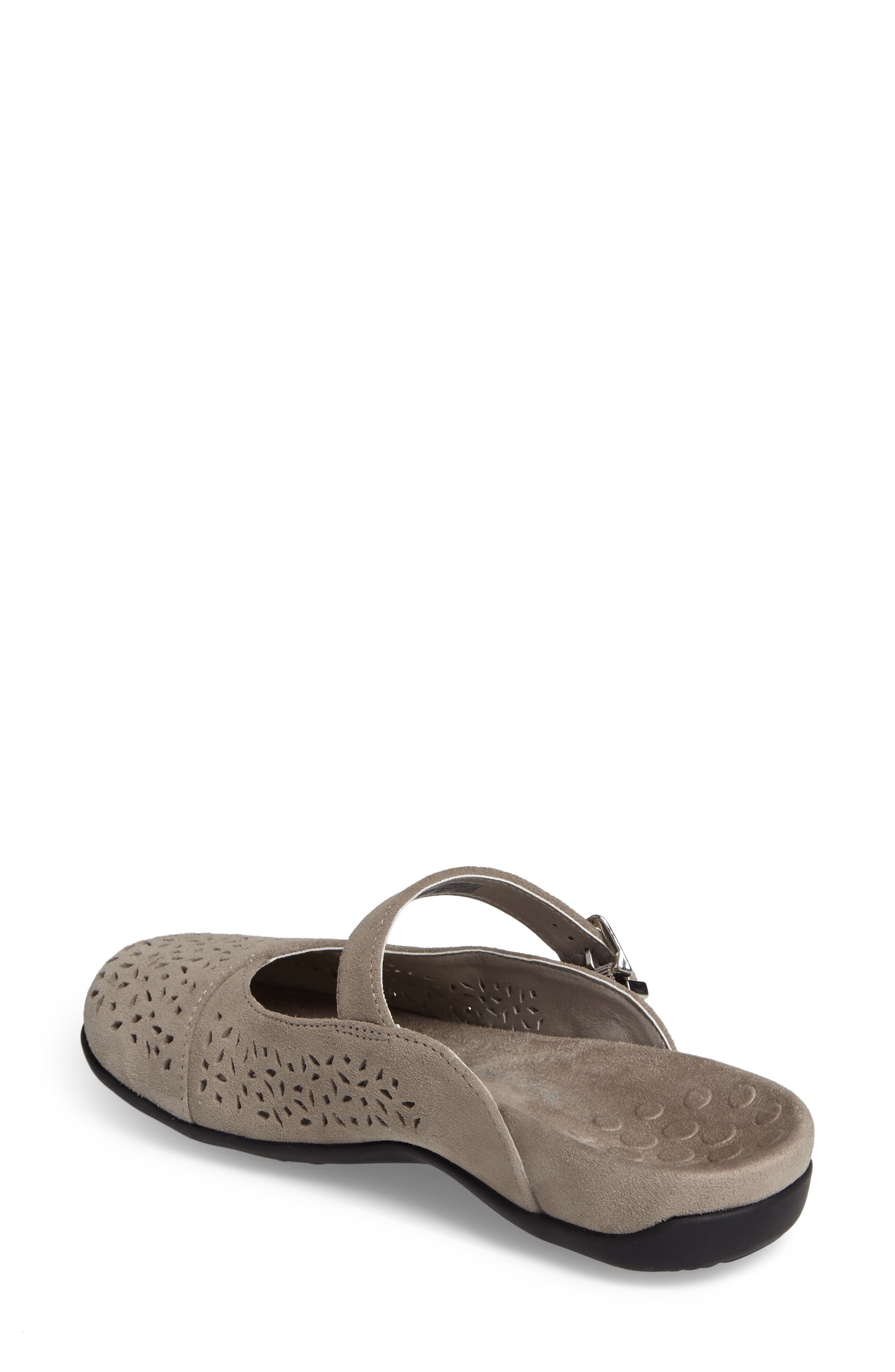 Rest Lidia Perforated Mary Jane Mule,                             Alternate thumbnail 2, color,                             Grey Suede