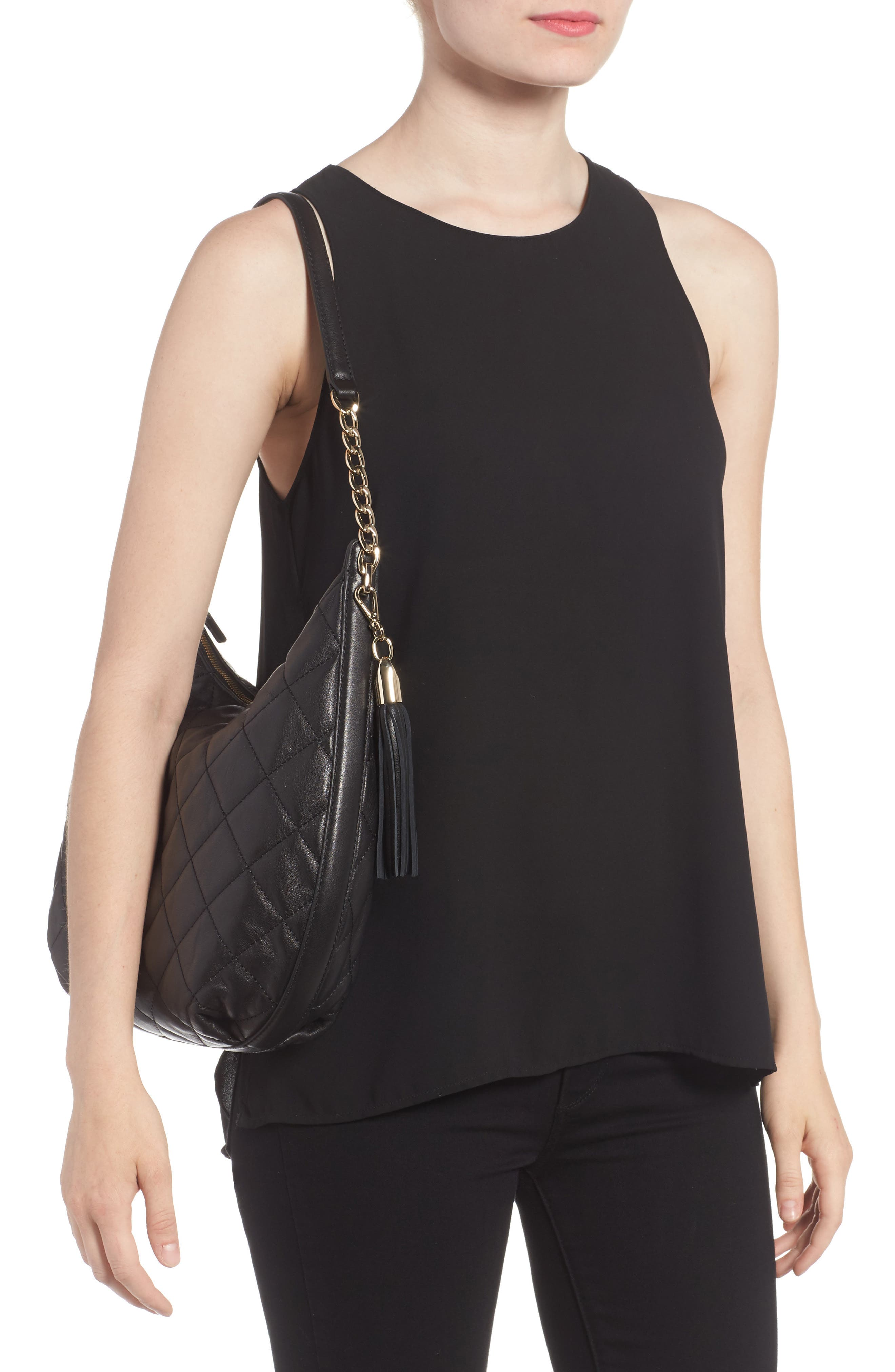 emerson place - tamsin leather hobo,                             Alternate thumbnail 2, color,                             Black