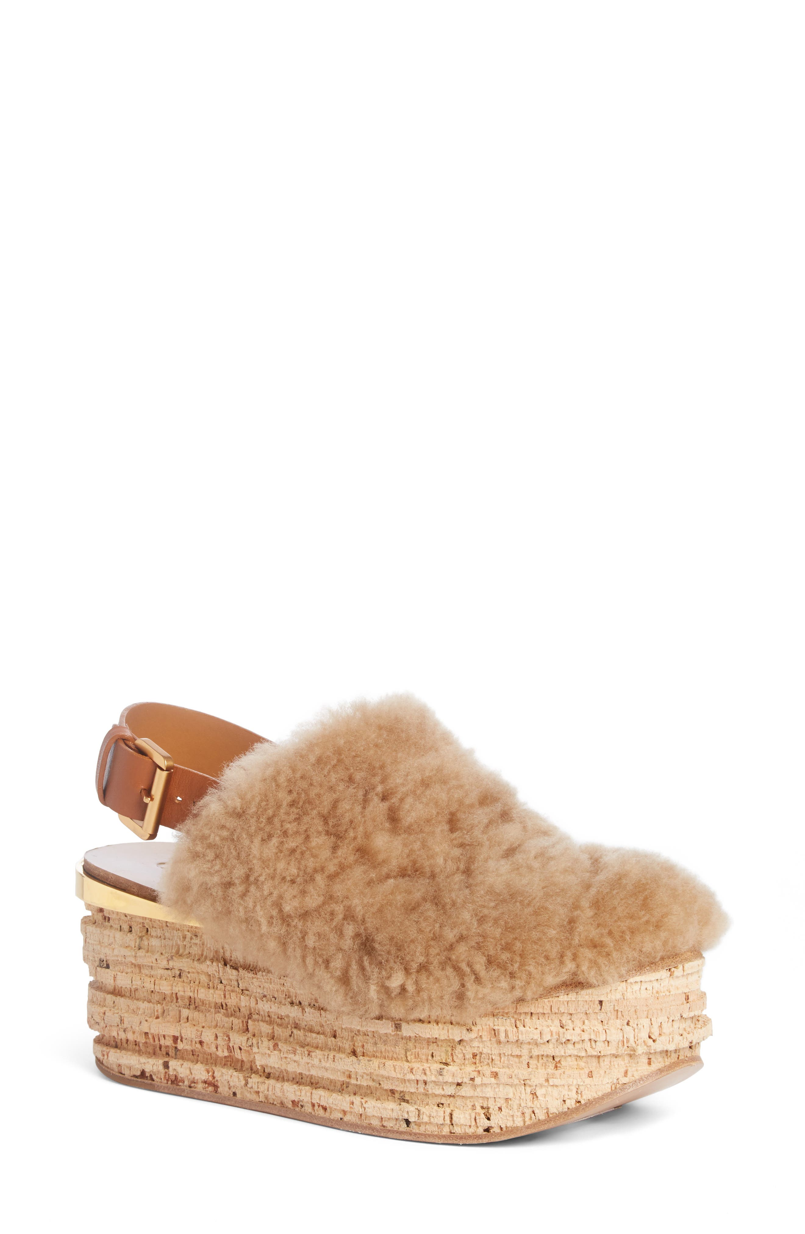 Chloé Camille Genuine Shearling Slingback Platform Wedge (Women)