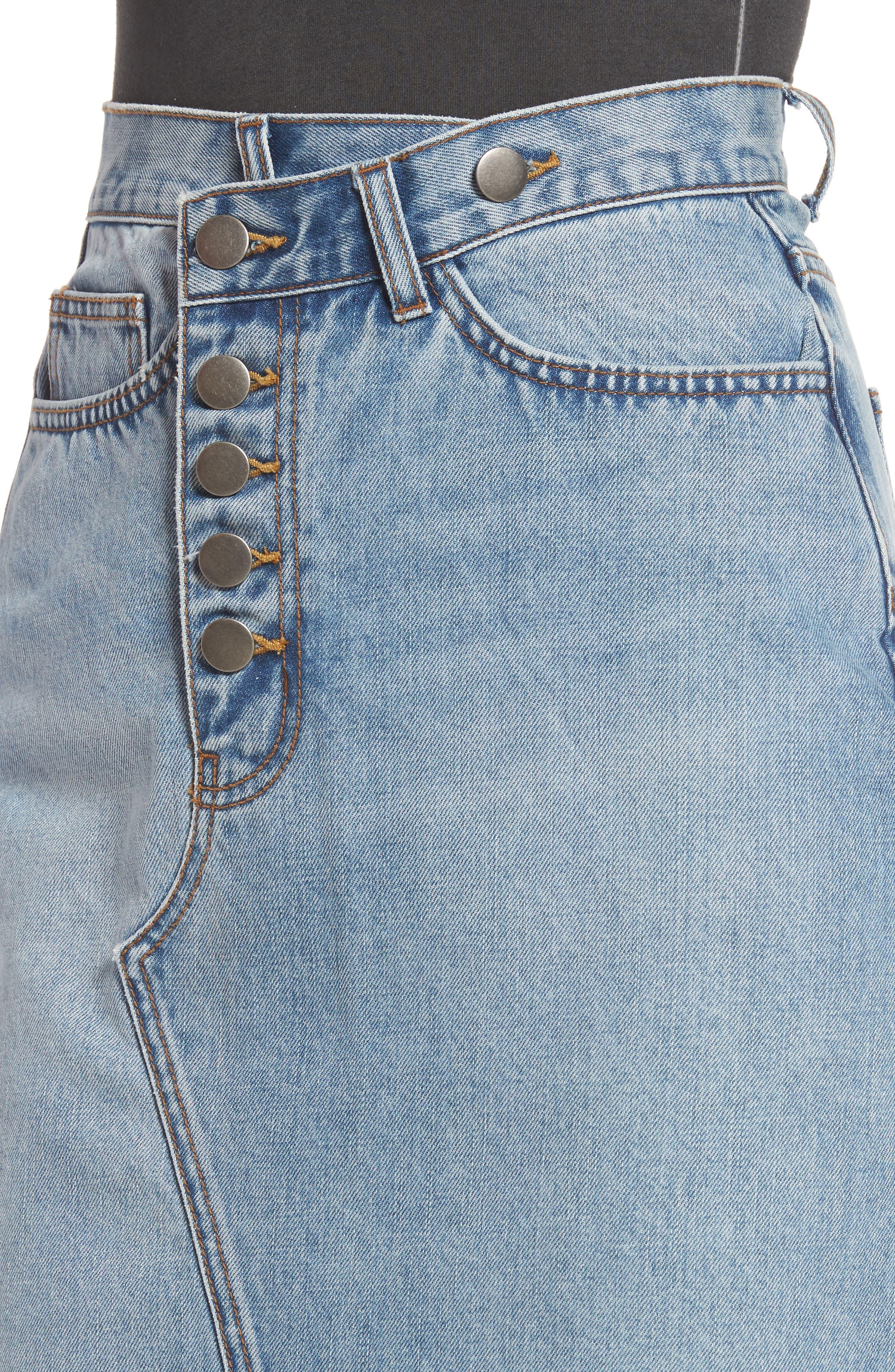 Asymmetrical Denim Pencil Skirt,                             Alternate thumbnail 5, color,                             Light Blue