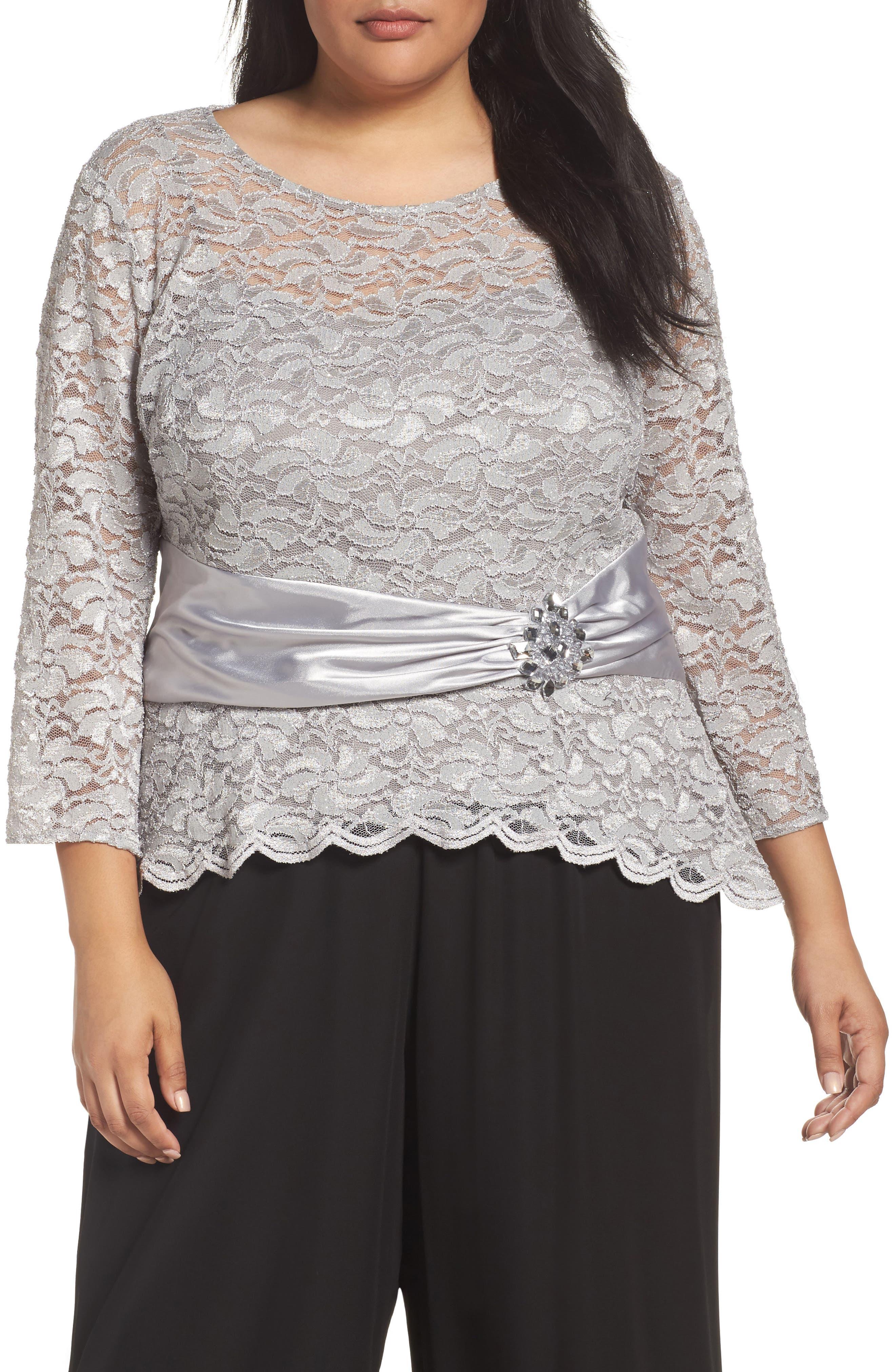 Alternate Image 1 Selected - Alex Evenings Ruched Waist Lace Blouse (Plus Size)
