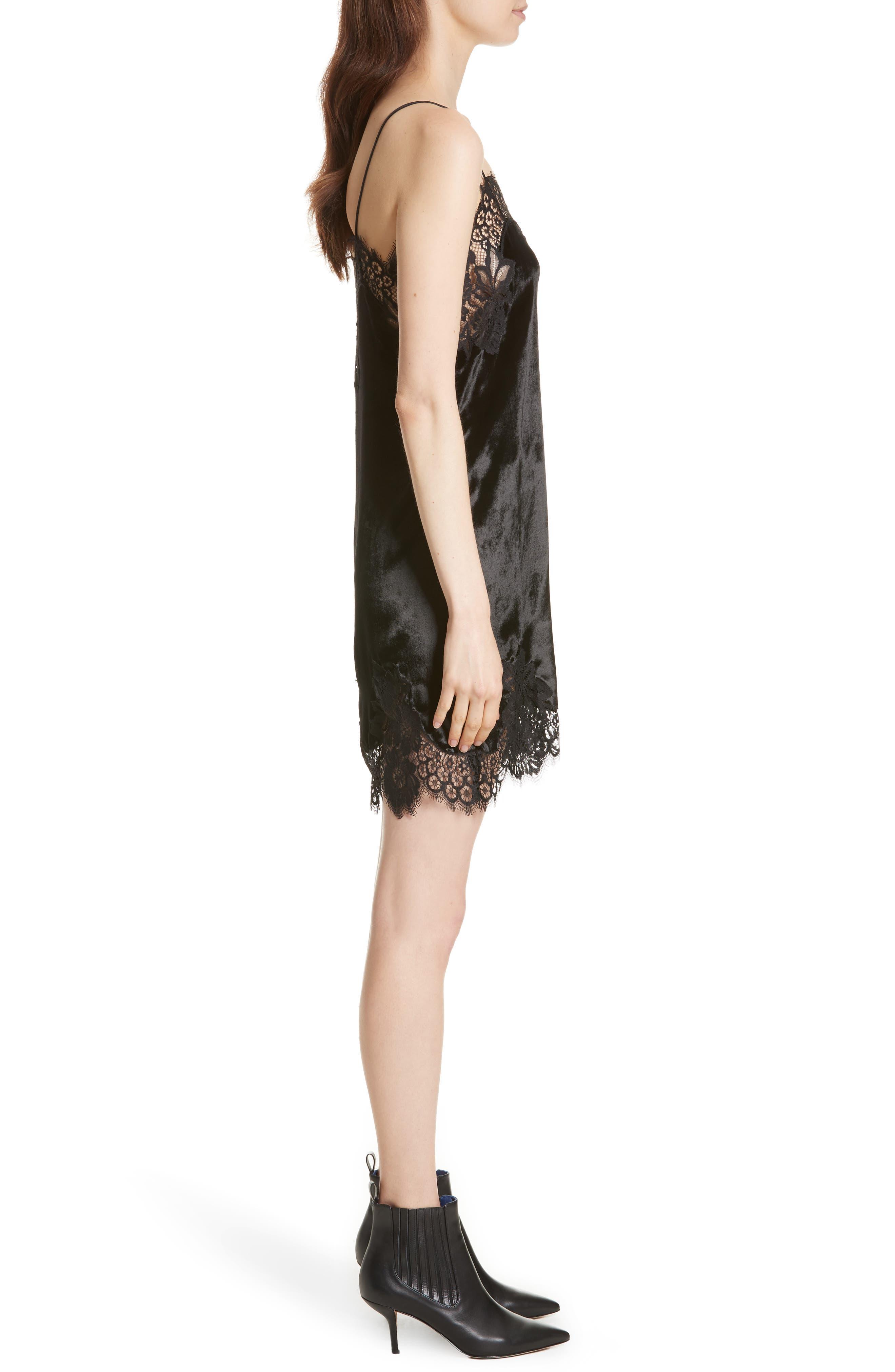 Alternate Image 3  - Alice + Olivia Charice Lace Trim Velvet Slipdress