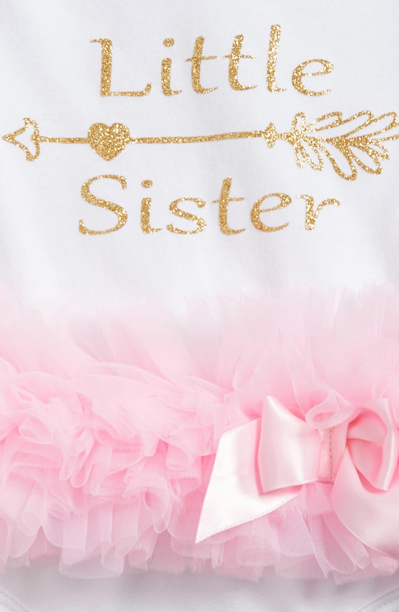 Alternate Image 2  - Popatur Little Sister Skirted Bodysuit (Baby Girls)