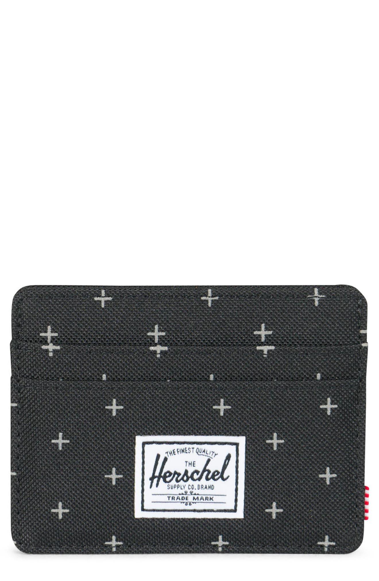 Charlie RFID Card Case,                         Main,                         color, Black Gridlock