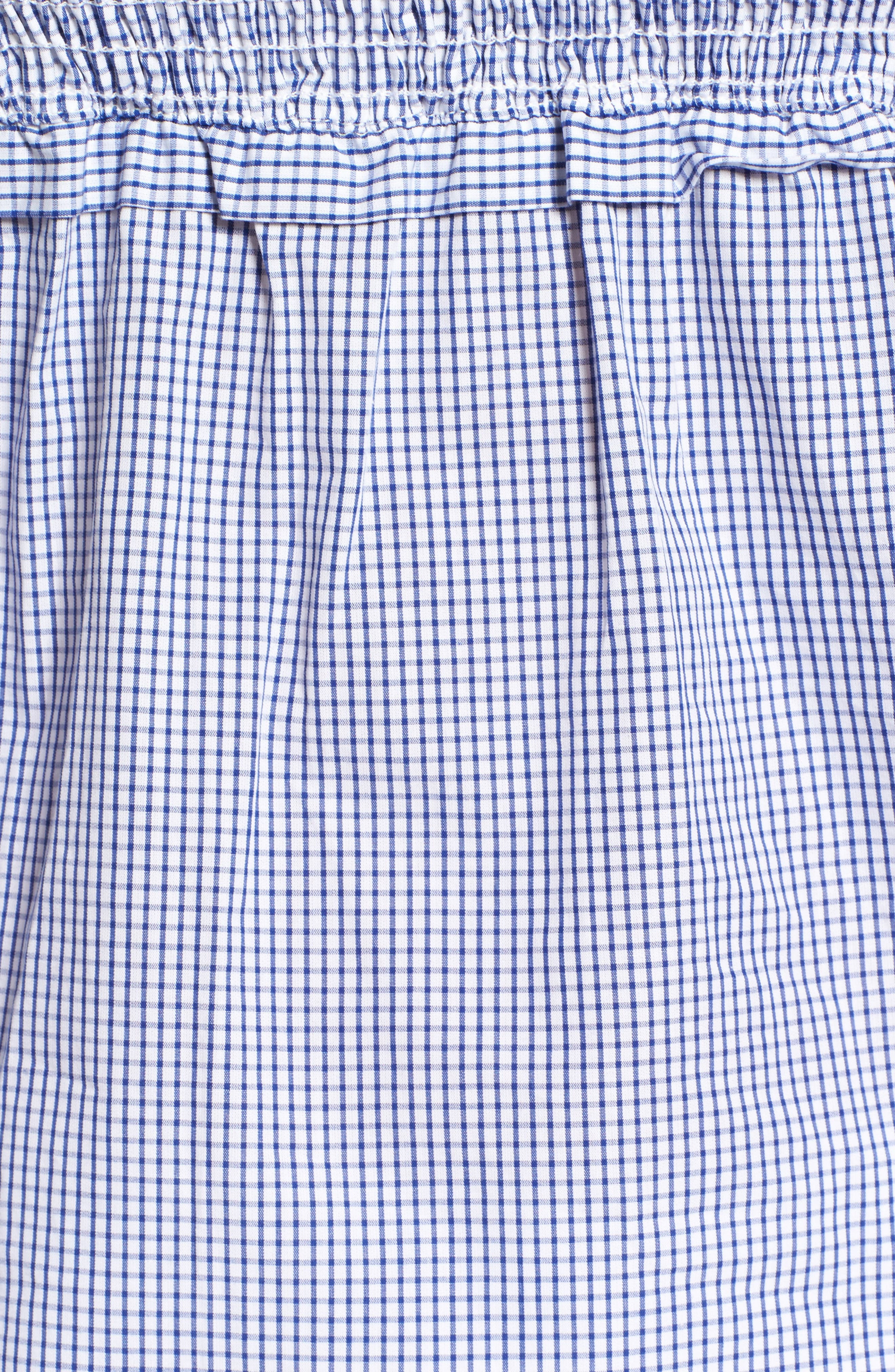 Libby Smocked Off the Shoulder Top,                             Alternate thumbnail 5, color,                             Blue Checker