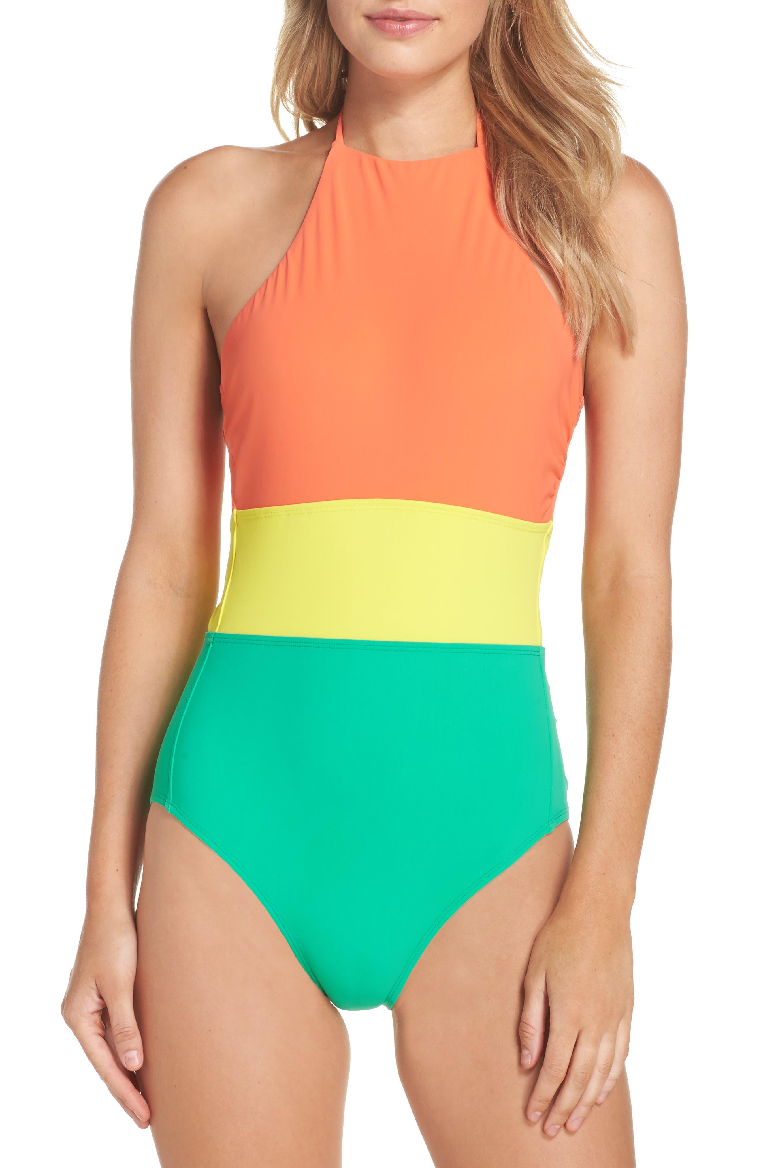 Halter One-Piece Swimsuit,                         Main,                         color, Coral/ Acid