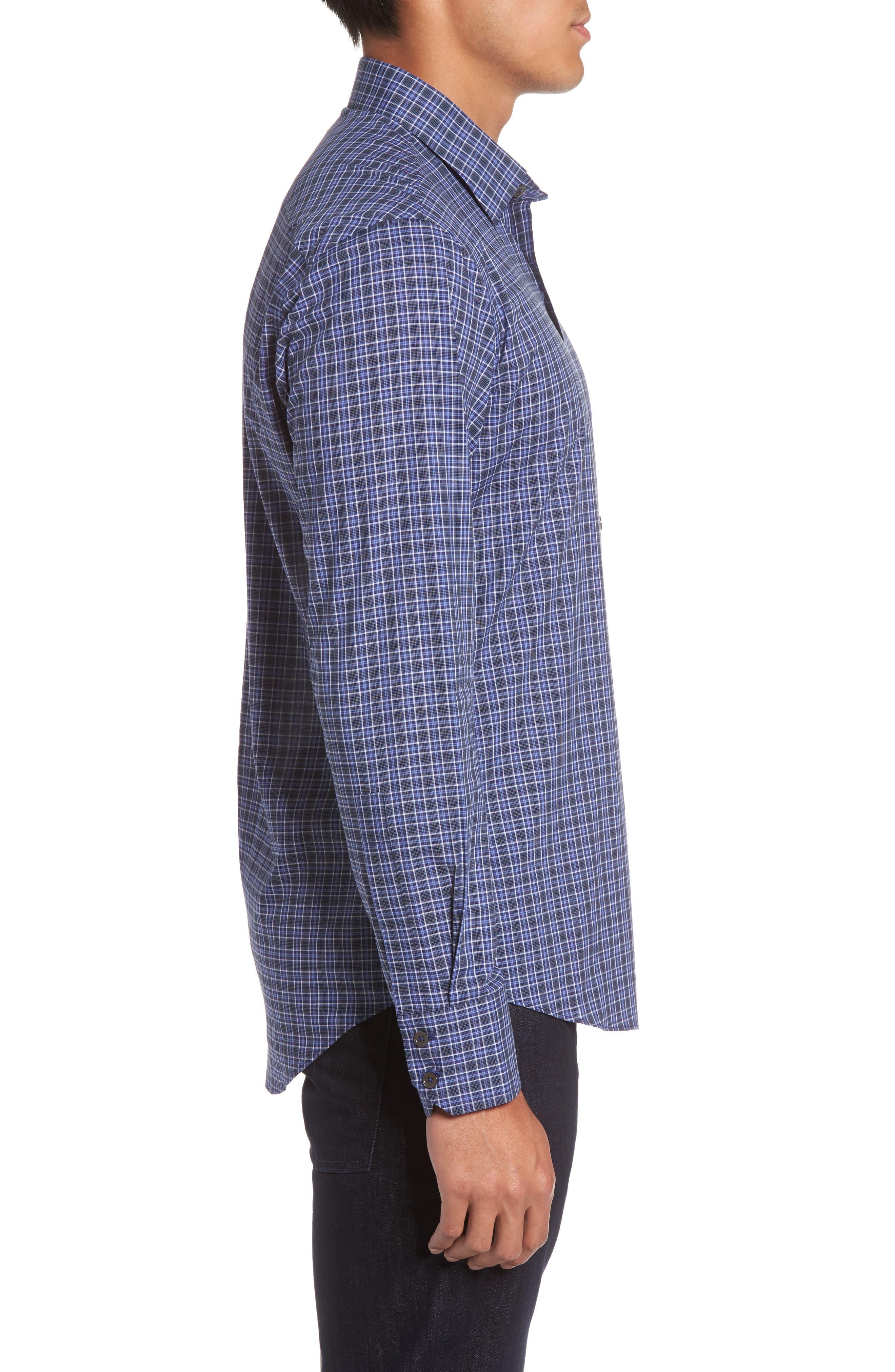 Barnum Slim Fit Check Sport Shirt,                             Alternate thumbnail 3, color,                             Blue