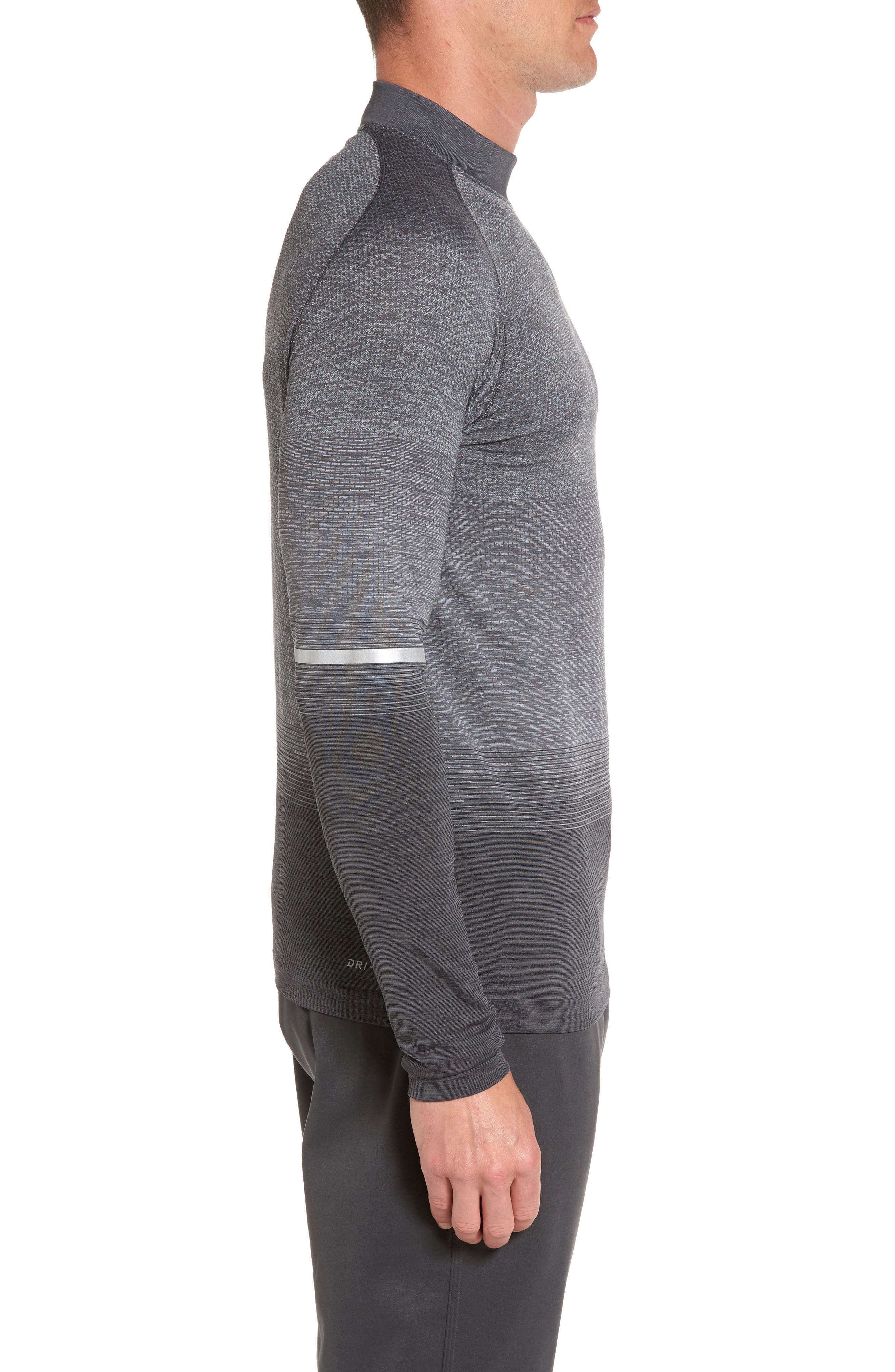 Dry Running Mock Neck Long Sleeve T-Shirt,                             Alternate thumbnail 3, color,                             Anthracite/ Wolf Grey/ Grey