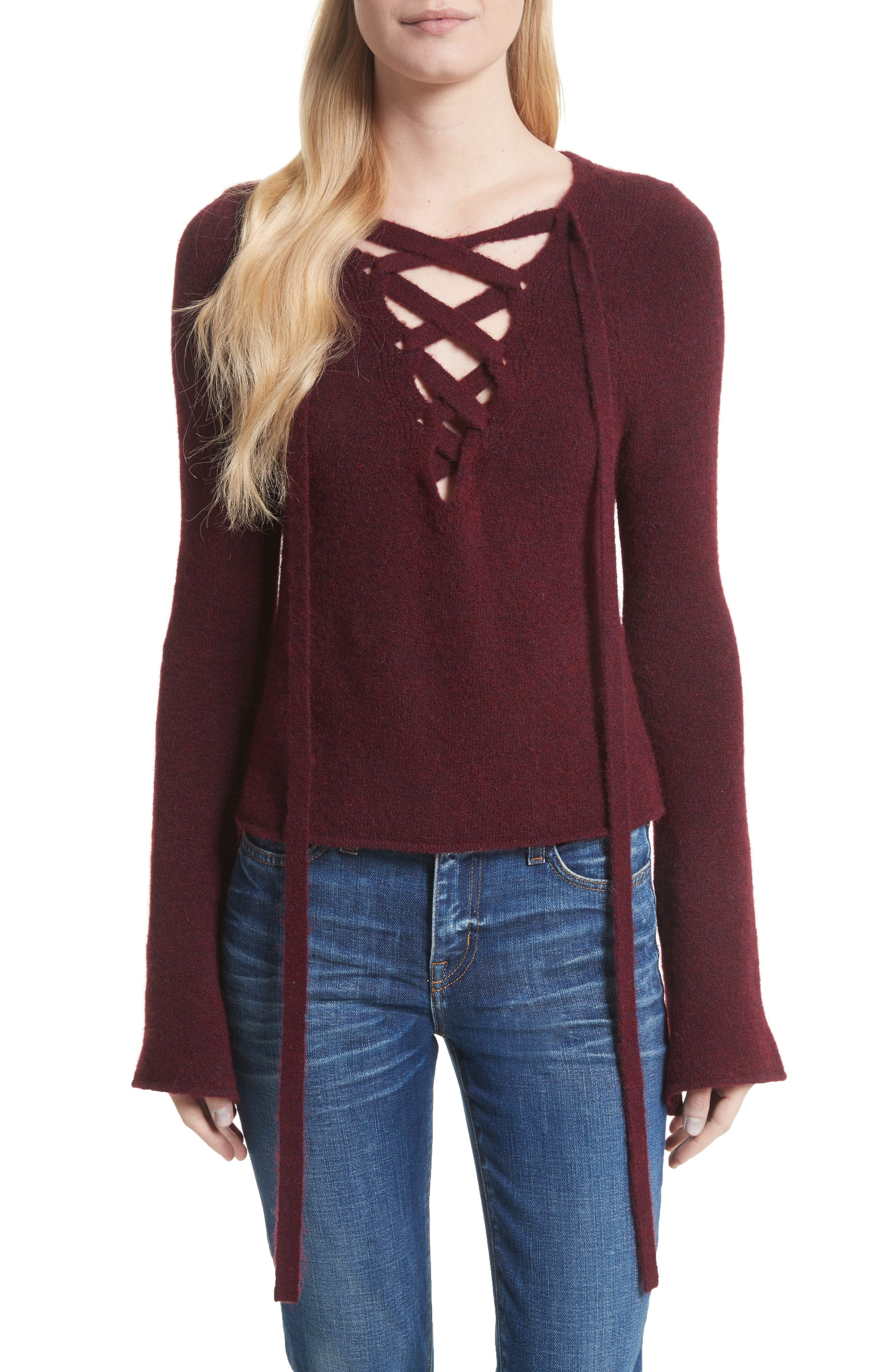 Candela Lace-Up Sweater,                         Main,                         color, Rhubarb