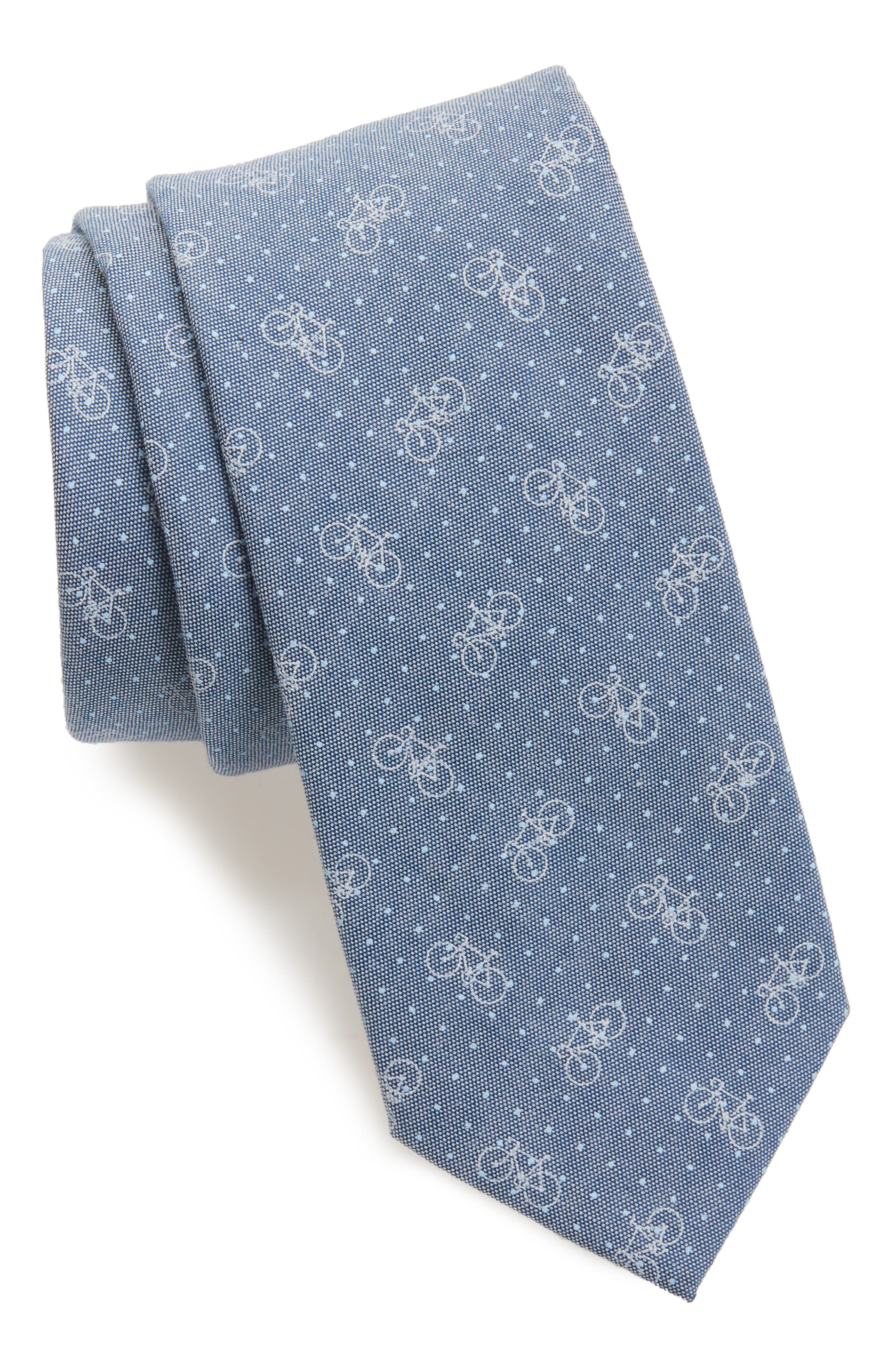 Bicycle & Dot Cotton Tie,                         Main,                         color, Blue